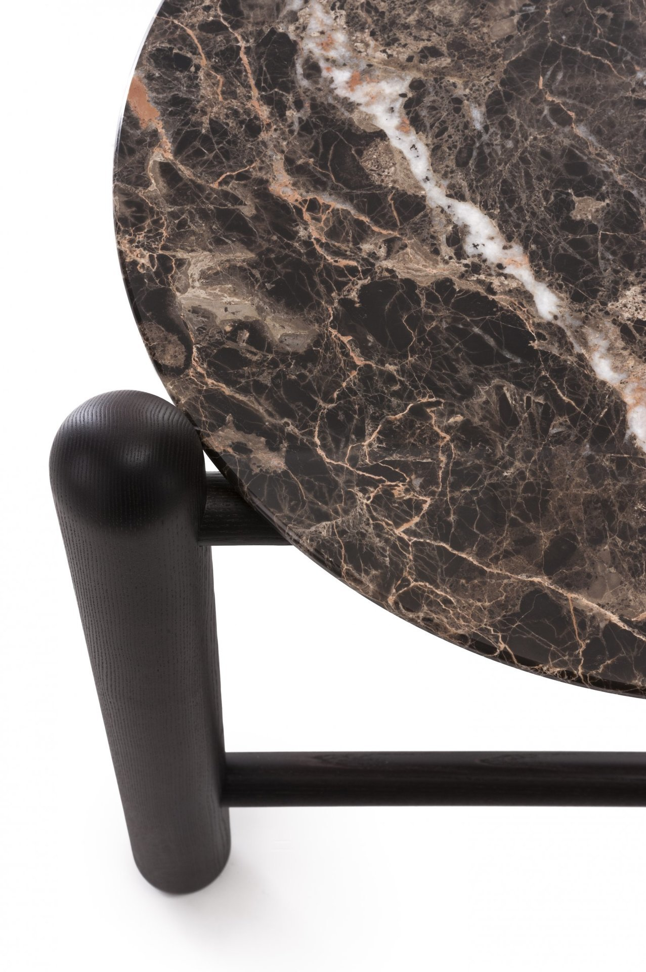 Hold On Side Table - Combining the sturdy rigor of the ash structure and the lavish elegance of Emperador Brown marble, this side table will add an elegant and modern touch to a living room, bedroom, or study. It's part of the Hold On collection, comprising sophisticated pieces with a contemporary aesthetic. It can be combined with the others in the collection, for a cohesive look.  | Matter of Stuff
