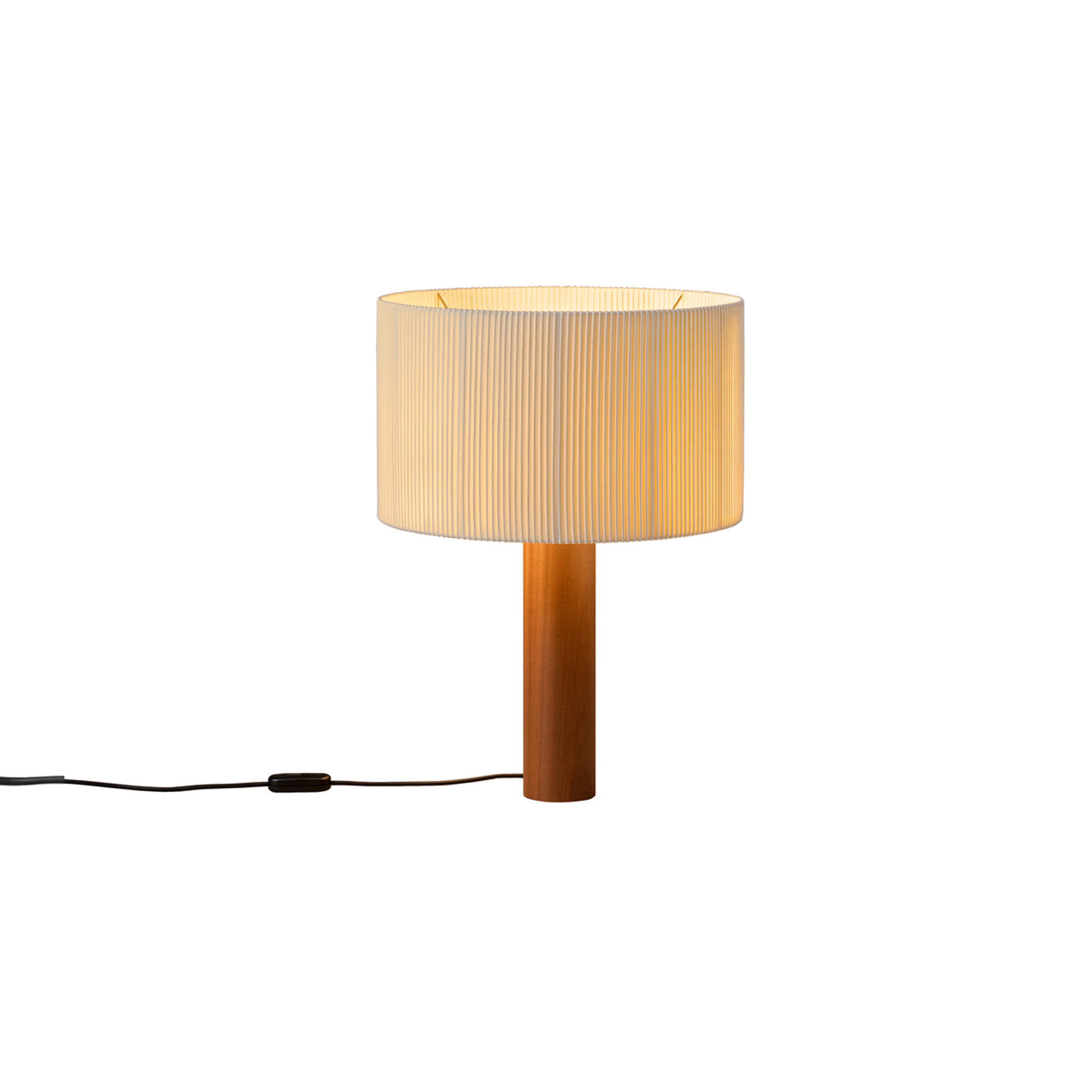 Moragas Table Lamp - A sturdy wood cylinder supports a head with three bulbs arranged radially and outwards, surrounded by a generous circular shade. The shade is made from cotton ribbon (typically used for bookbinding) and has a silk thread running along the edge, forming an asymmetry that creates a splendid contrast of light and shadow.  | Matter of Stuff