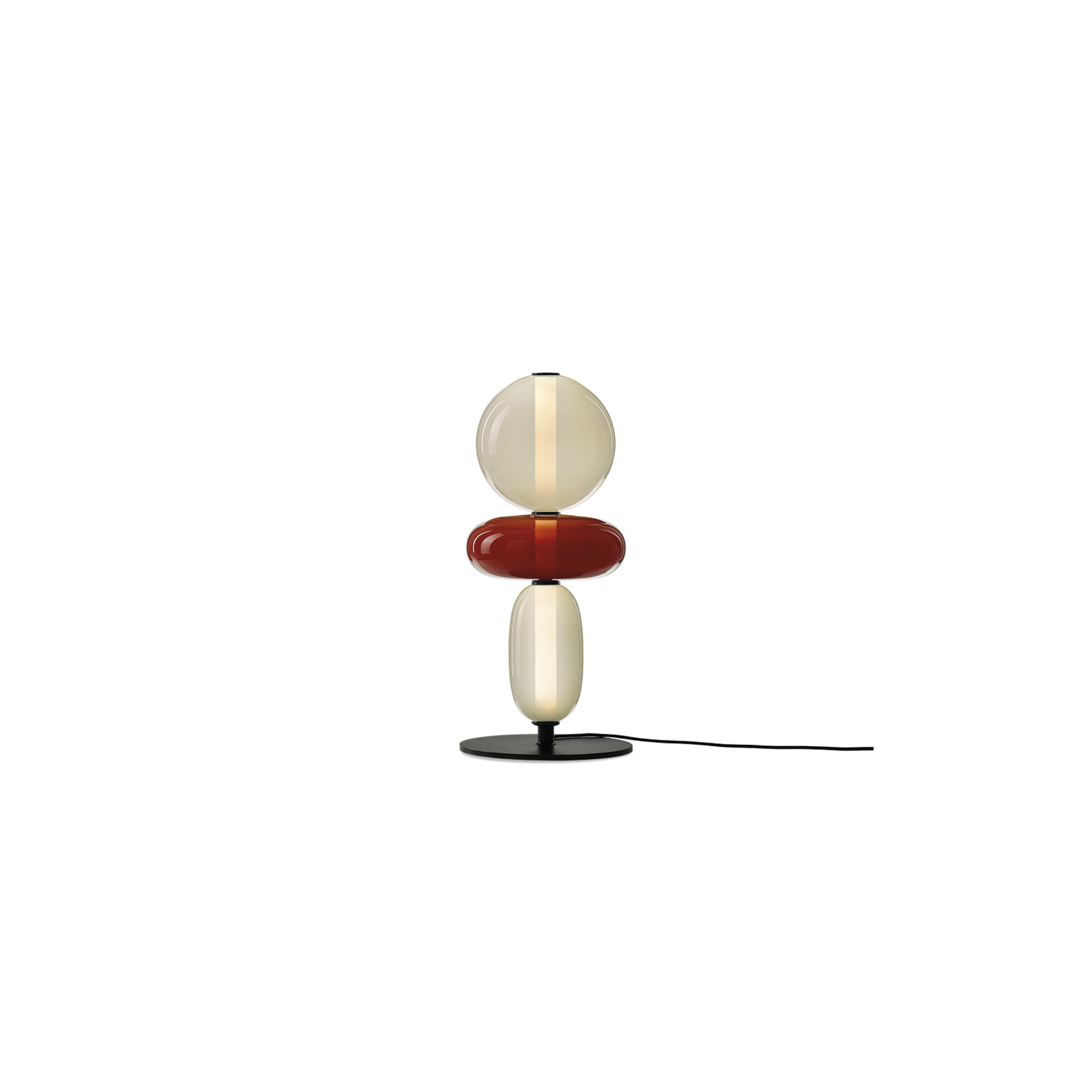 Pebbles Short Floor Lamp - Keepsakes of treasured memories. Smooth pebbles from summer beach, or as a reminder of someone special. Their diverse shapes and colours inspired this lighting collection that lets you create distinctive combinations. String the hand-blown glass elements just like colourful beads, connected by their interior light source. The glass parts of Lens are hand-painted thus the intensity of colour may slightly vary. Available in 3 different configurations.  | Matter of Stuff