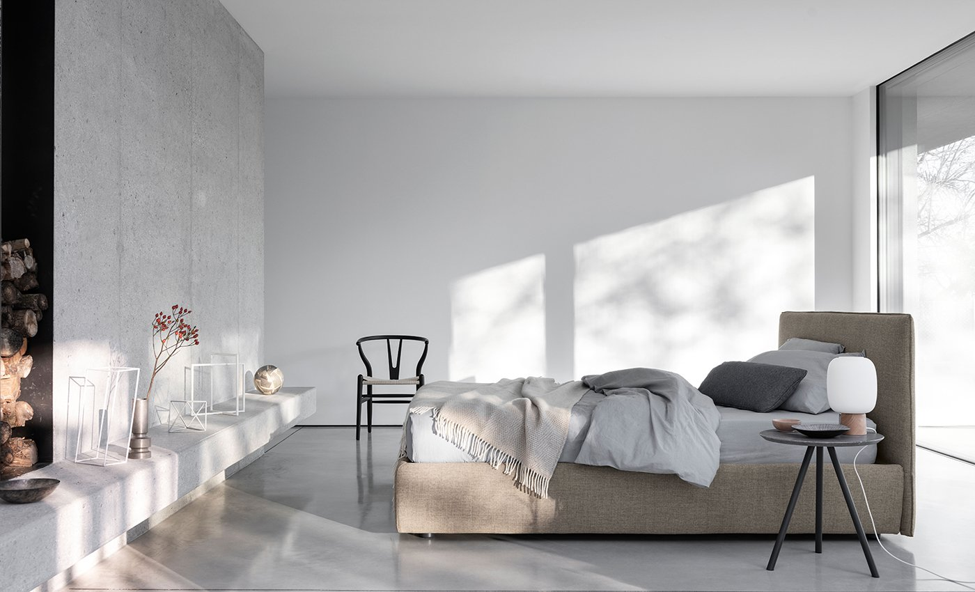 Gaya Plane Bed - Simply soft and relaxing, Gaya is the bed we would like to find at the end of a busy day. Its timeless design, made of simple and harmonious lines, suggests infinite possibilities of setting: from contemporary situations to more classic ones. The two-version headboard allows further aesthetic characterization. | Matter of Stuff