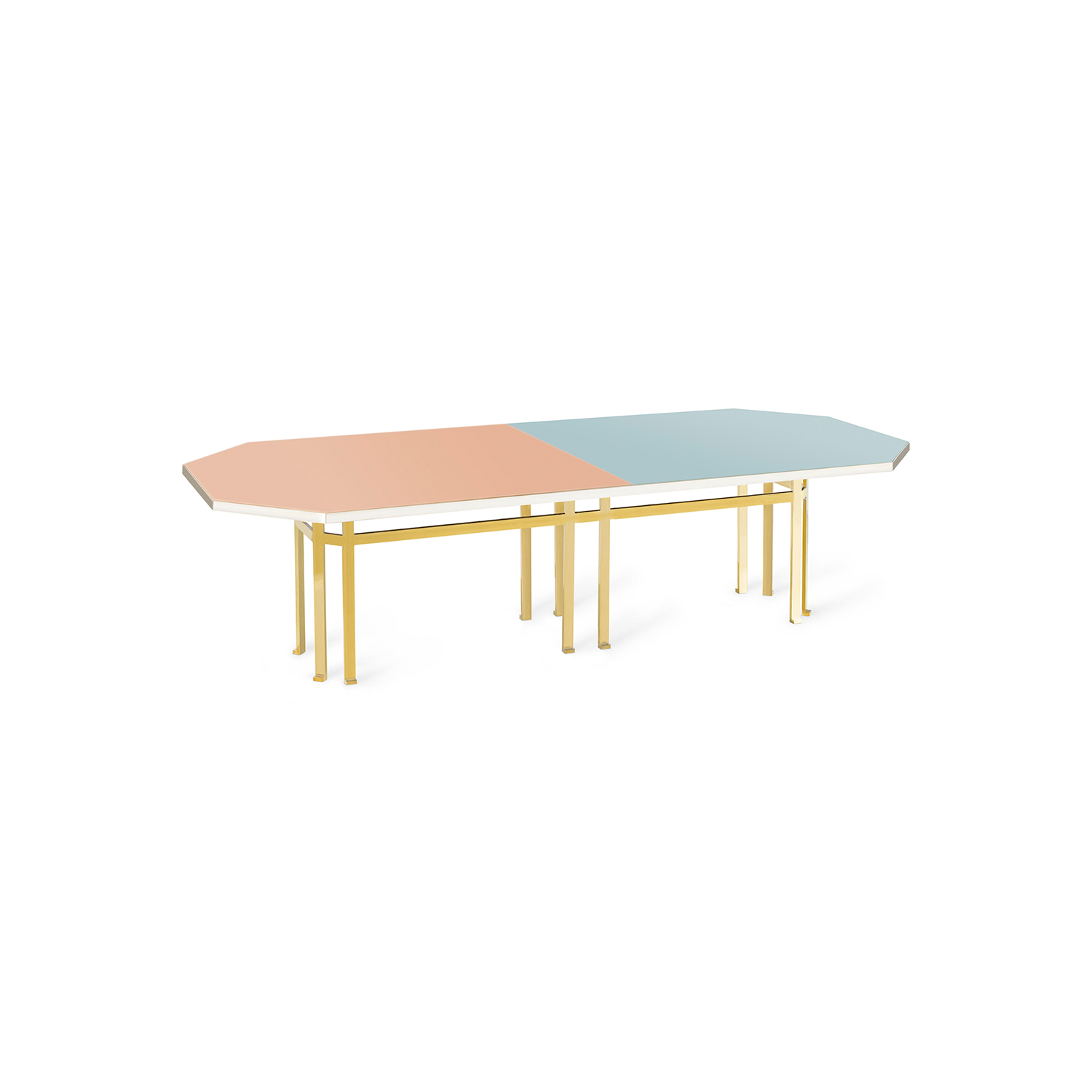 Holo 280 Table - Designed by Filippo Feroldi for Purho and Colleoni Arte, Holo 280 is a table with generous dimensions characterized by an octagonal brass structure surmounted by a sheet of glass back-coloured in two different shades which in turn rests on a base in black lacquered wood. The volumes, the technical details, the study of colour and the craftsmanship with which it is made make Holo 280 a precious, unique complement, masterfully balanced between the history of design and contemporaneity, capable of giving personality to the environments in which it is inserted.  Colours can be customised, please enquire for more details. | Matter of Stuff