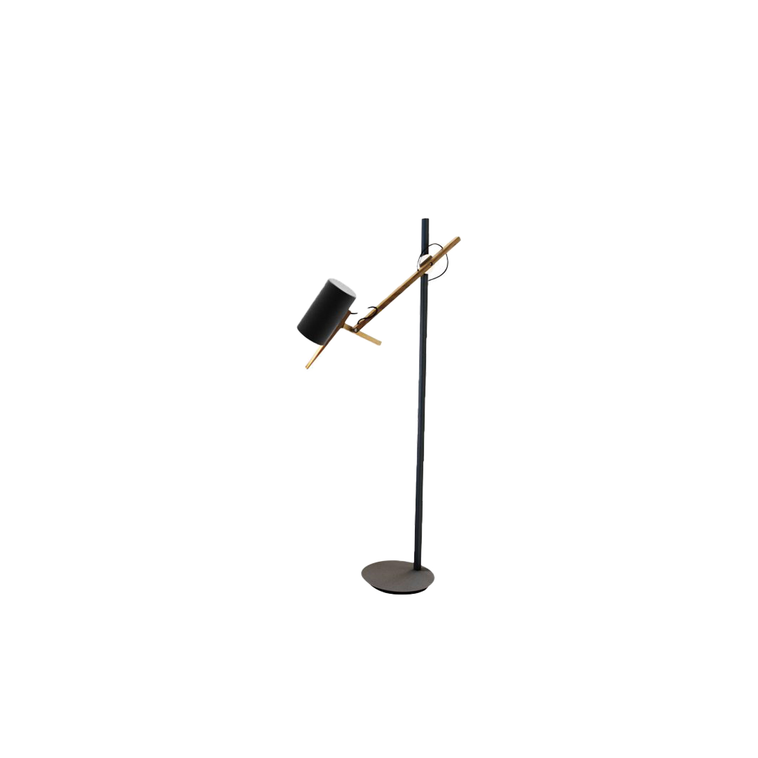 Scantling Large Floor Lamp - A combination of basic geometric shapes and the use of wood together with metal give this range of lamps a homely appearance, at the same time as a clearly defined personality.  All of the movements of the fully rotating shade use arms and hinges, and its technical precision means that springs or counterweights are not necessary in order to maintain the selected position. Scantling is a term used to define the size to which a piece of wood or stone is measured and cut, derived from the name of an old unit of measurement.  The interplay of the different elements used in its design gives this lamp an archetypal, almost graphic appearance. | Matter of Stuff
