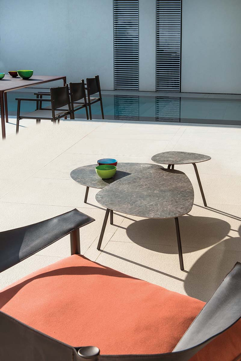 Terramare Coffee Table - These coffee tables have aluminium frames and tops made from porcelain stoneware. The welcoming shapes and wide dimensions characterise the Terramare collection by Studio Chiaramonte-Marin,<br />They are 