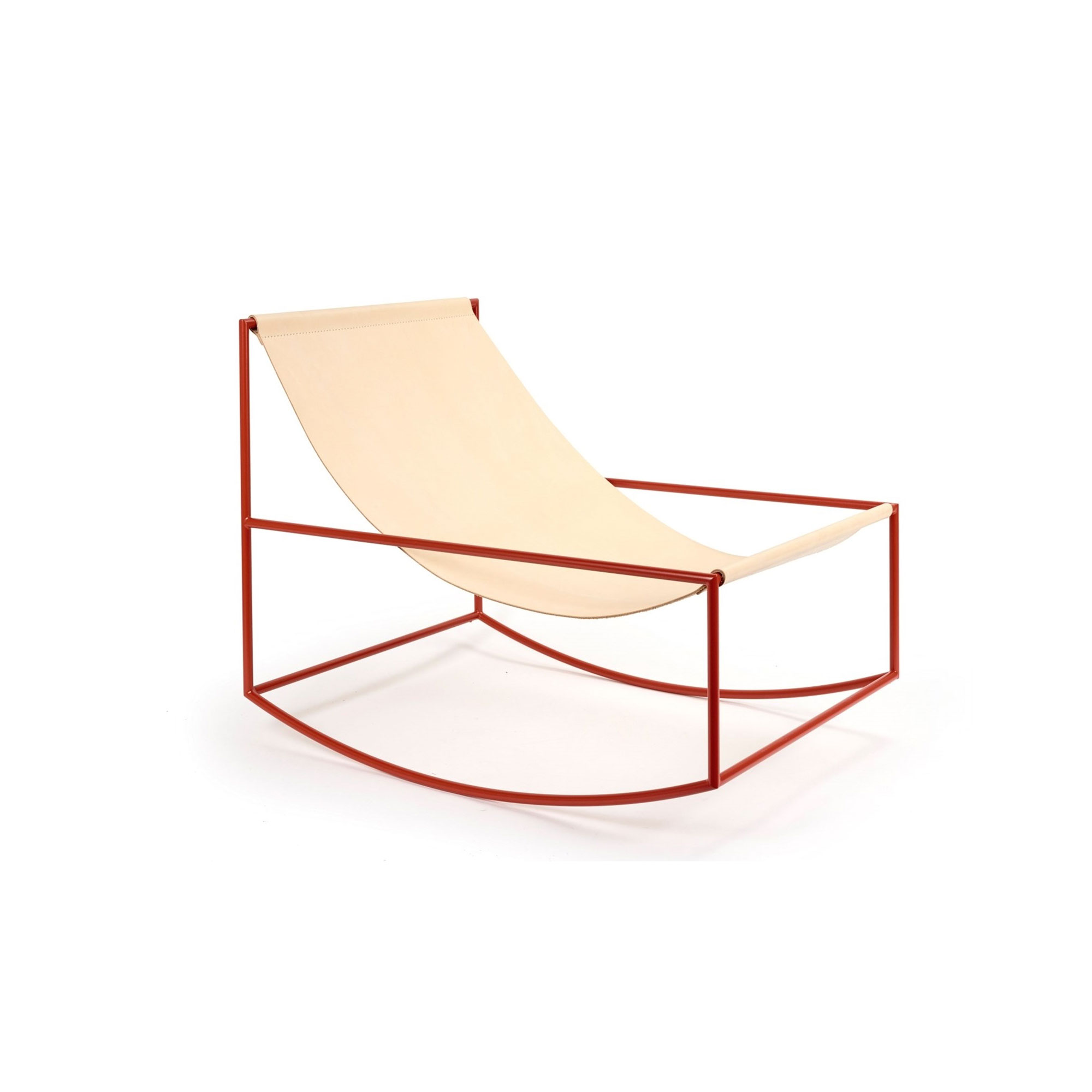 Leather Rocking Chair - <p>Under small pressure of the solo show, Fien and Hannes made their iconic seats with a leather cloth spanned between two horizontal bars. After that, they designed the rocking chair which is constructed by the same principal. Just as with all Muller Van Severen's designs, transparency is key. And so it swings through the space of the interior without ever covering the background.</p>  | Matter of Stuff