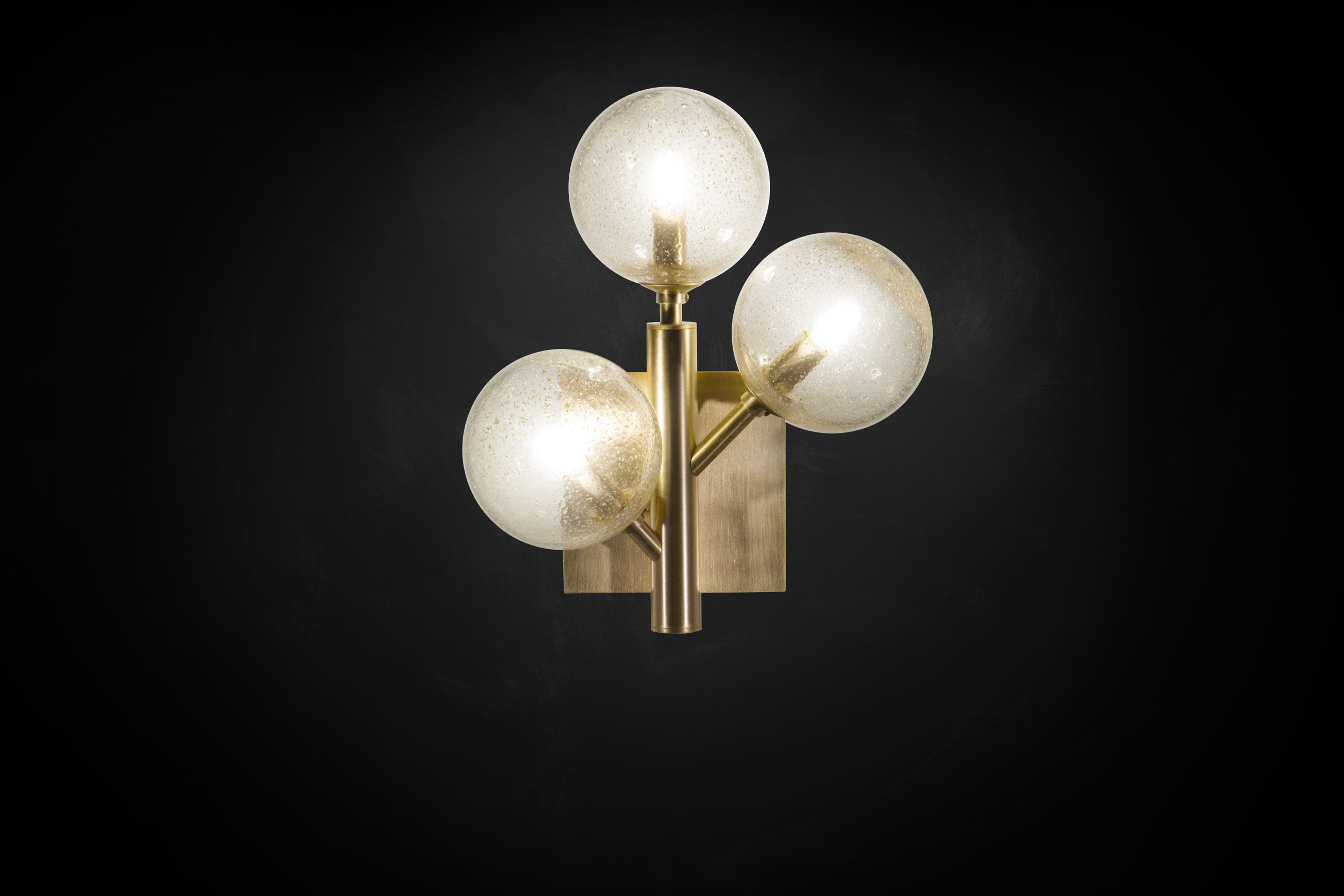 Mimosa Sconce 3 - <p>From our new collection, Mimosa Applique is a contemporary sconce equipped with 3 glass spheres. Each ball is realised by the antique technique of glass blowing. After the processing in the furnace, glass spheres are pierced to be assembled with the frame and the light bulb E27 inside each ball. Available in more colours of frame and glass.</p>  | Matter of Stuff