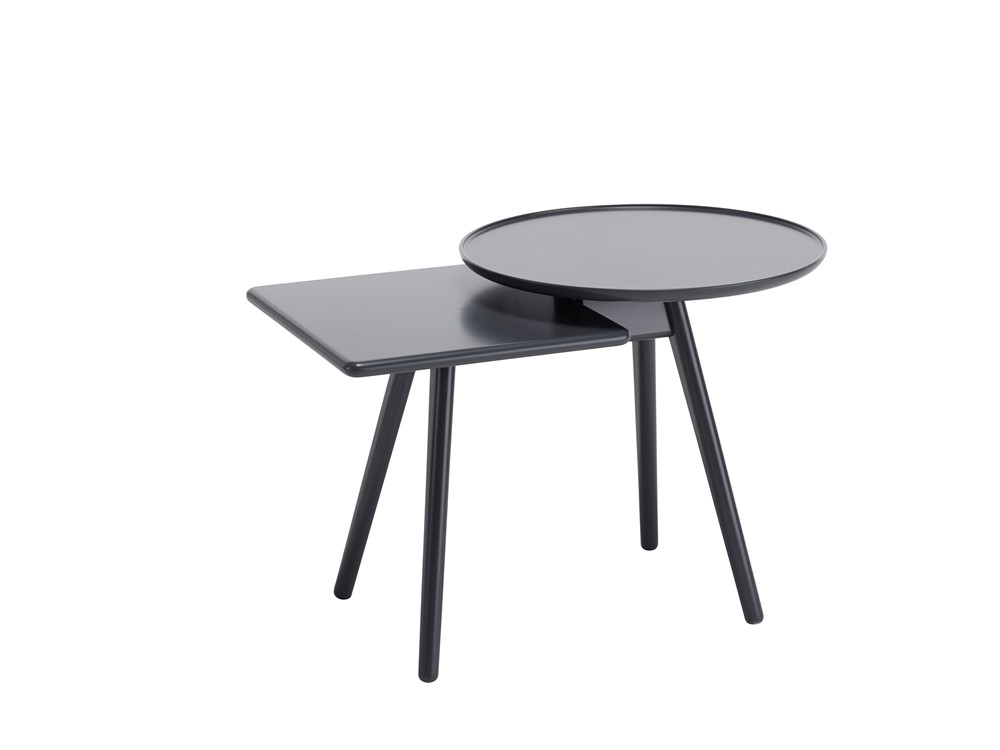 Mopsy Small Table - Mopsy (2016) is a sofa table with round and square-shaped tops at different heights in an overlapped combination on the same leg frame. A number of Mopsy tables can be grouped together in the same type of wood or colour, or in a combination of different types of wood and colours. The tabletops and leg frames are made from solid wood. Choose from oak, birch, ash, standard stains on ash, white glazed oak or ash and standard colors.  For standard colors the tabletop is made in MDF. Use Mopsy to furnish lobbies, all kinds of meeting places or next to your sofa at home.  Different top and leg finishes are available at an extra cost. Please enquire for more details.   Matter of Stuff