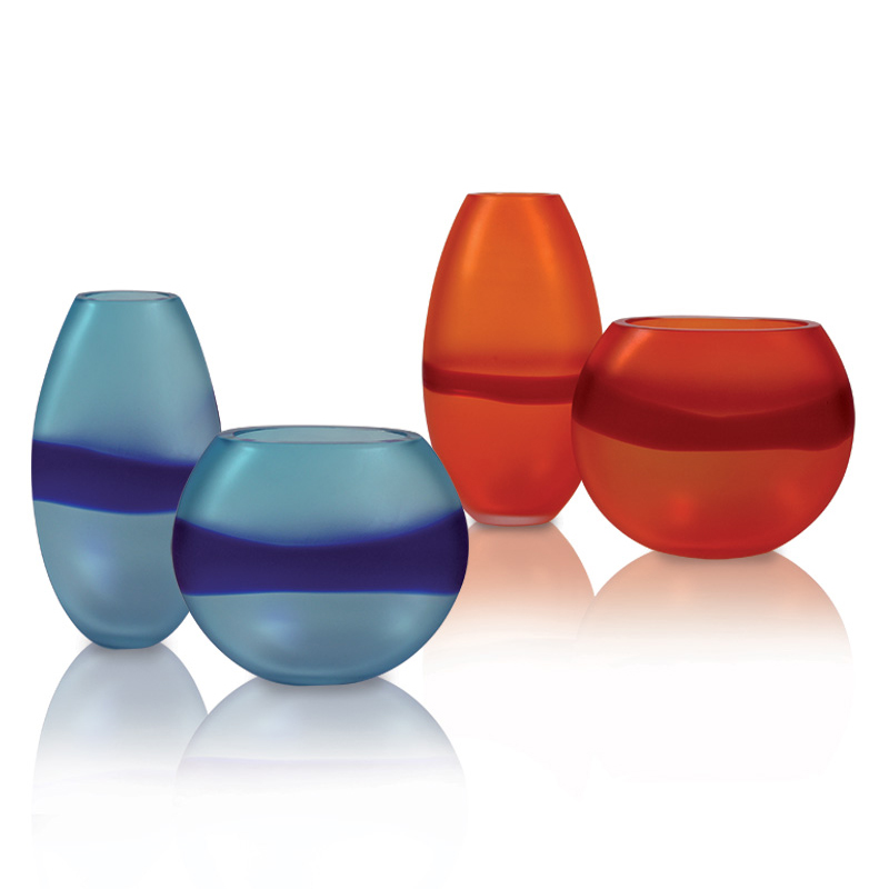 Segretissimi Vases - <p>Contemporary satin glass vases with tone-on-tone band.</p> <p>Prices are for each set including one short and one tall vase.</p>  | Matter of Stuff