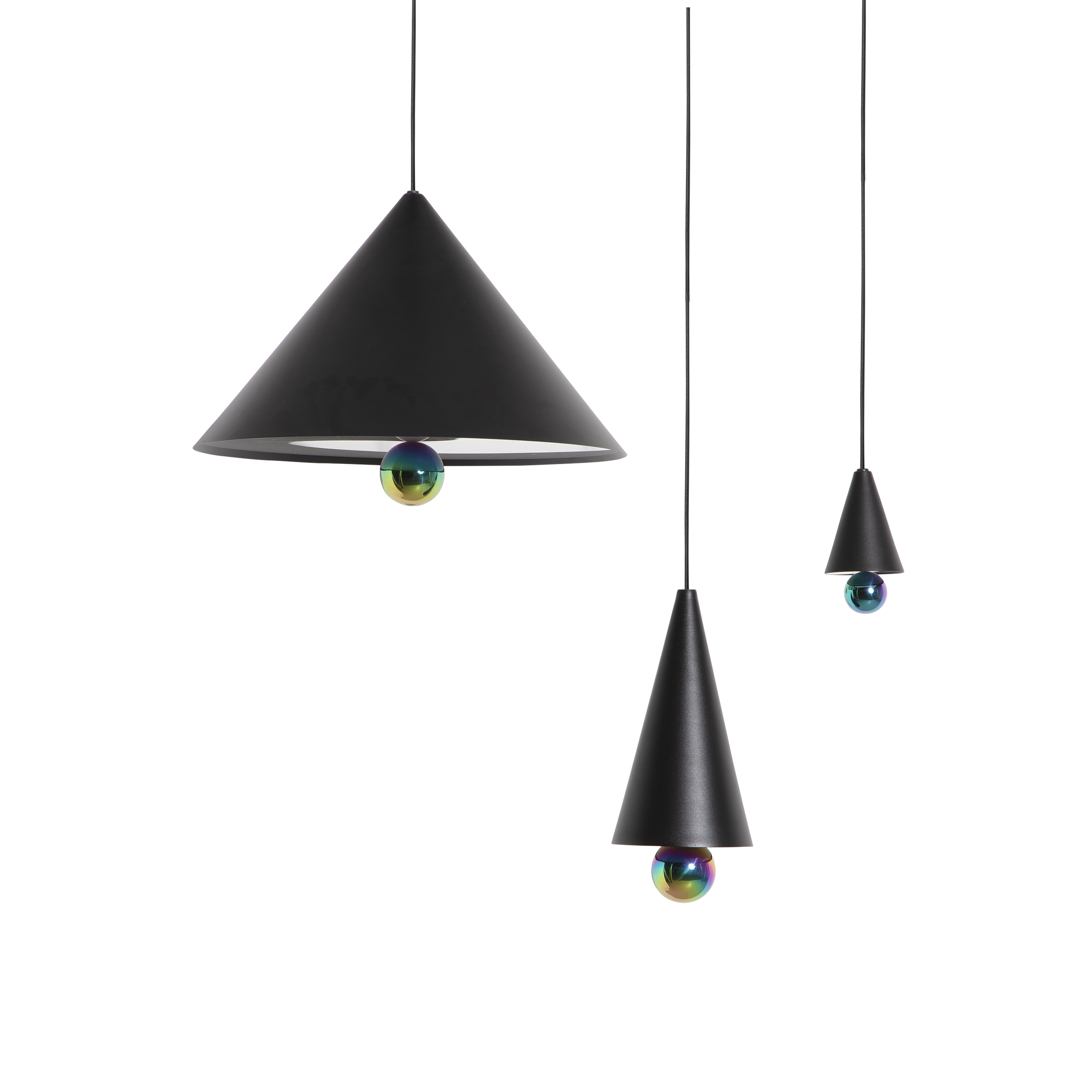 """Cherry Pendant Light S - The duo of Australian designers DANIEL and EMMA has created CHERRY a simple and minimal suspension - an aluminium cone sub-mounted with a sphere - and manages to create a subtle ratio of light between the diffuser and the ball at the finish shimmering.   """"The CHERRY suspensions refer to our child's soul: to the gums we collected and more obviously to the ice cream cone with the cherry at the top that we loved so much."""" DANIEL and EMMA   