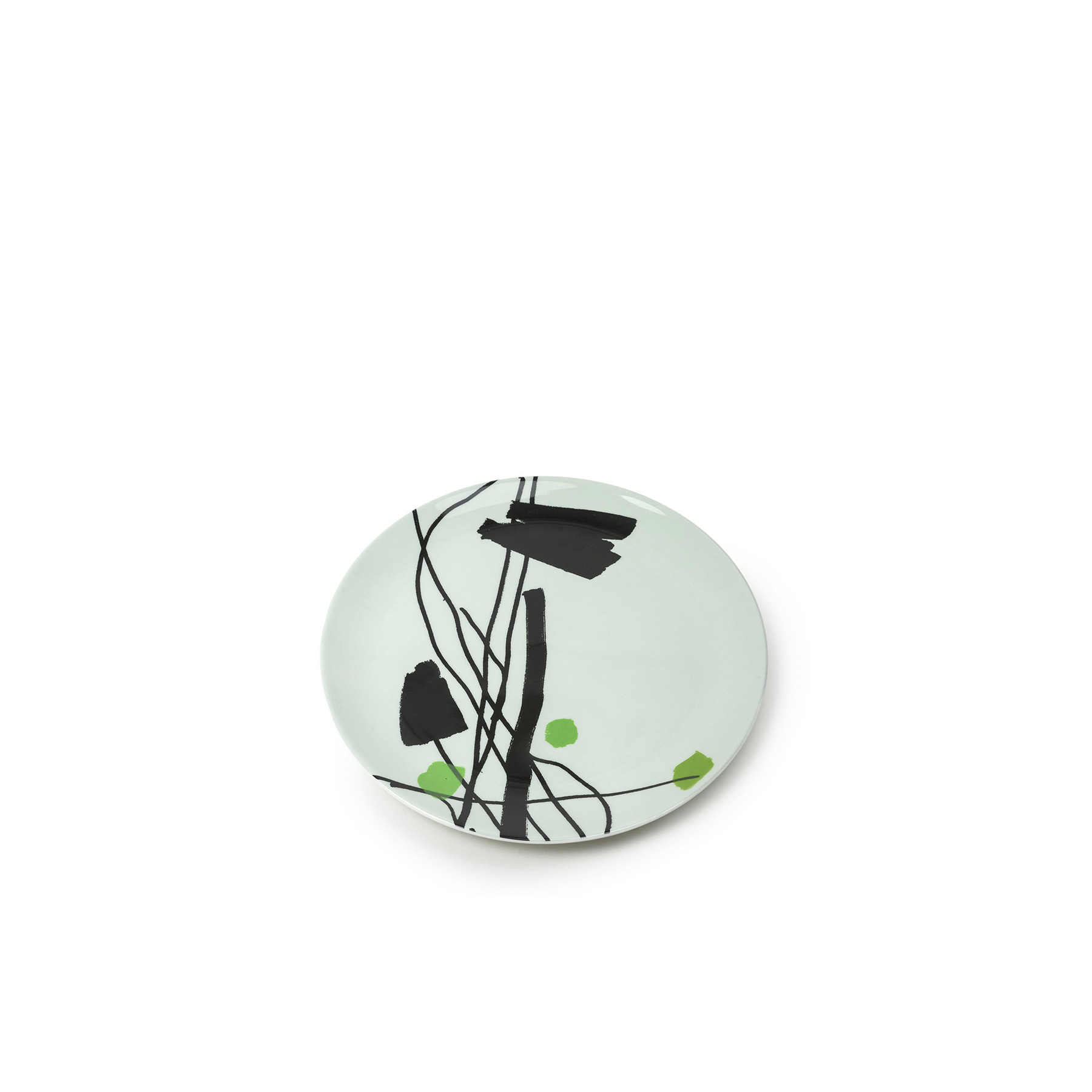 Garden Ware Plate 5 - Acclaimed conceptual artist Bruce McLean created a vast body of work titled Garden Ware that was on exhibition at the Victoria and Albert Museum in London 2017. The collection included one-off earthenware creations by McLean, including vases, bowls, platters. Stemming from the series of 50 Platters, McLean selected 4 artworks that have been reproduced as silk screen decals and now adorn dinner plates.  | Matter of Stuff