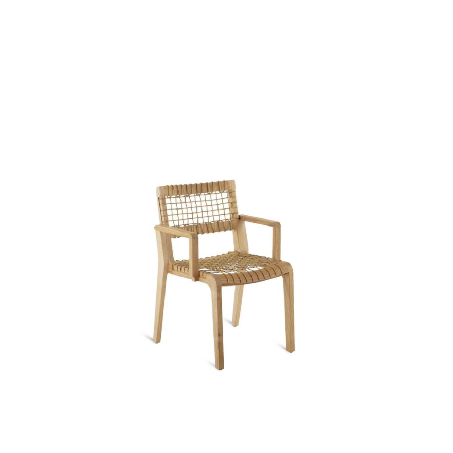 Synthesis Small Armchair - Synthesis small armchair in teak and WaProLace.   Structure: teak and Synthetic fibre WaProLace® wicker natural. Cushions: removable covers in 100% acrylic fabric, Diamante colour.  | Matter of Stuff