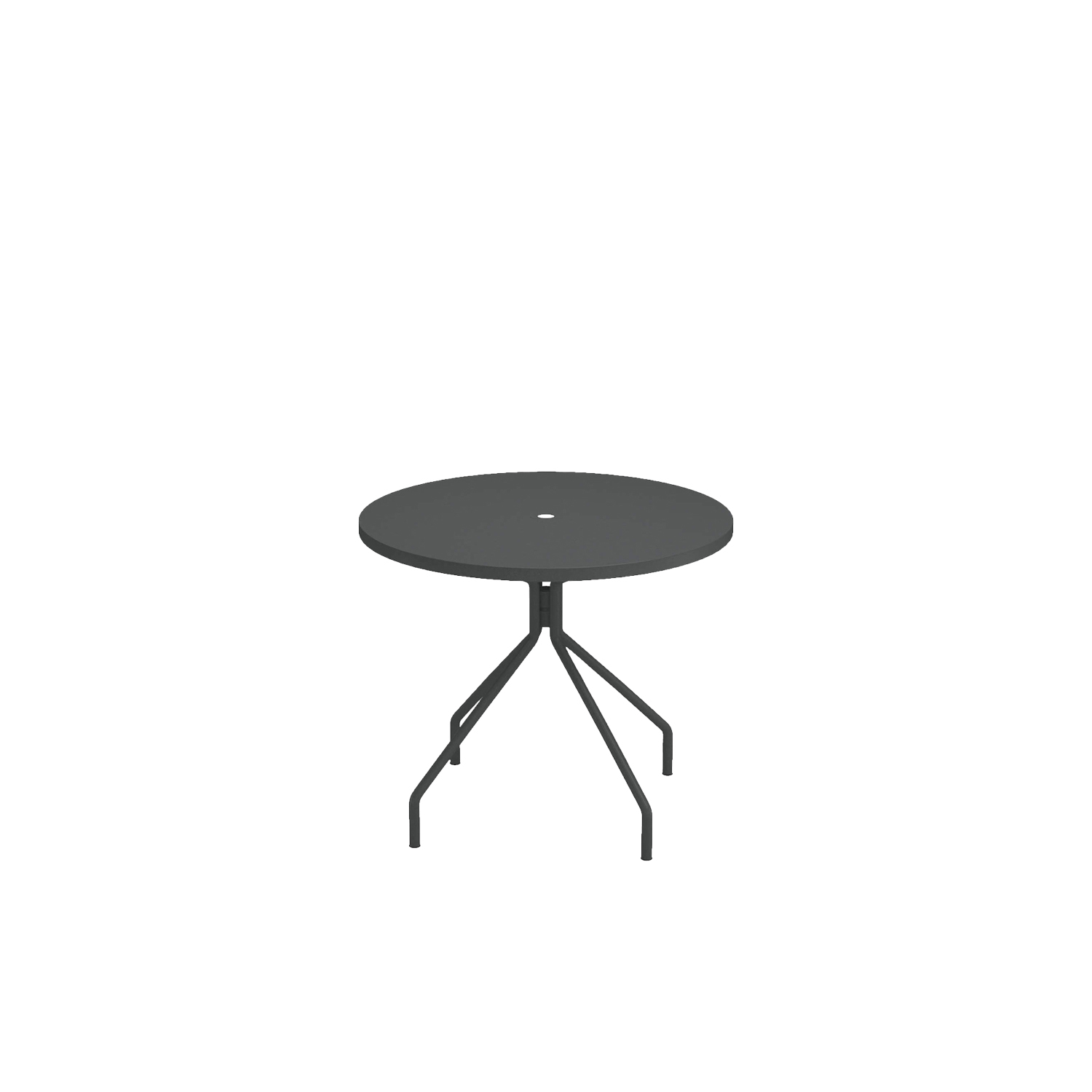 Solid Round Table - A family of essential-looking tables designed to furnish any kind of outdoor space with simplicity: Solid is characterised by the functional sheet metal plate made from steel, for the most varied use needs.