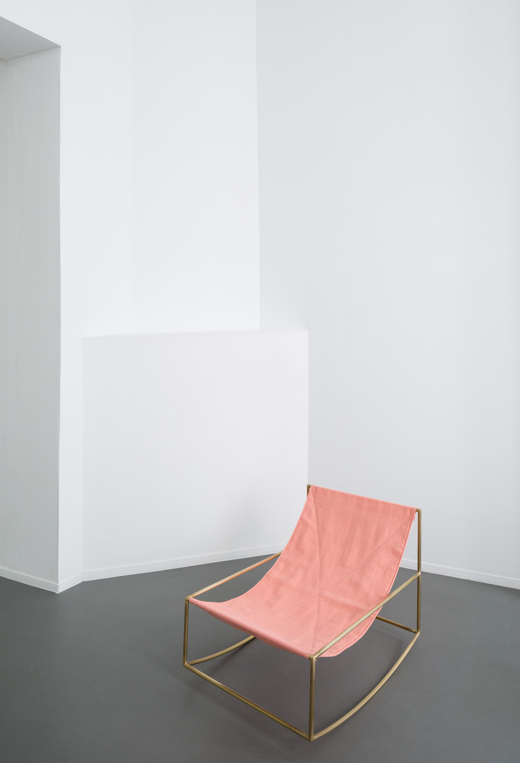 Linen Rocking Chair - <p>Under small pressure of the solo show, Fien and Hannes made their iconic seats with a leather cloth spanned between two horizontal bars.‎ After that, they designed the rocking chair which is constructed by the same principal.‎ Just as with all Muller Van Severen's designs, transparency is key.‎ And so it swings through the space of the interior without ever covering the background.‎</p>  | Matter of Stuff
