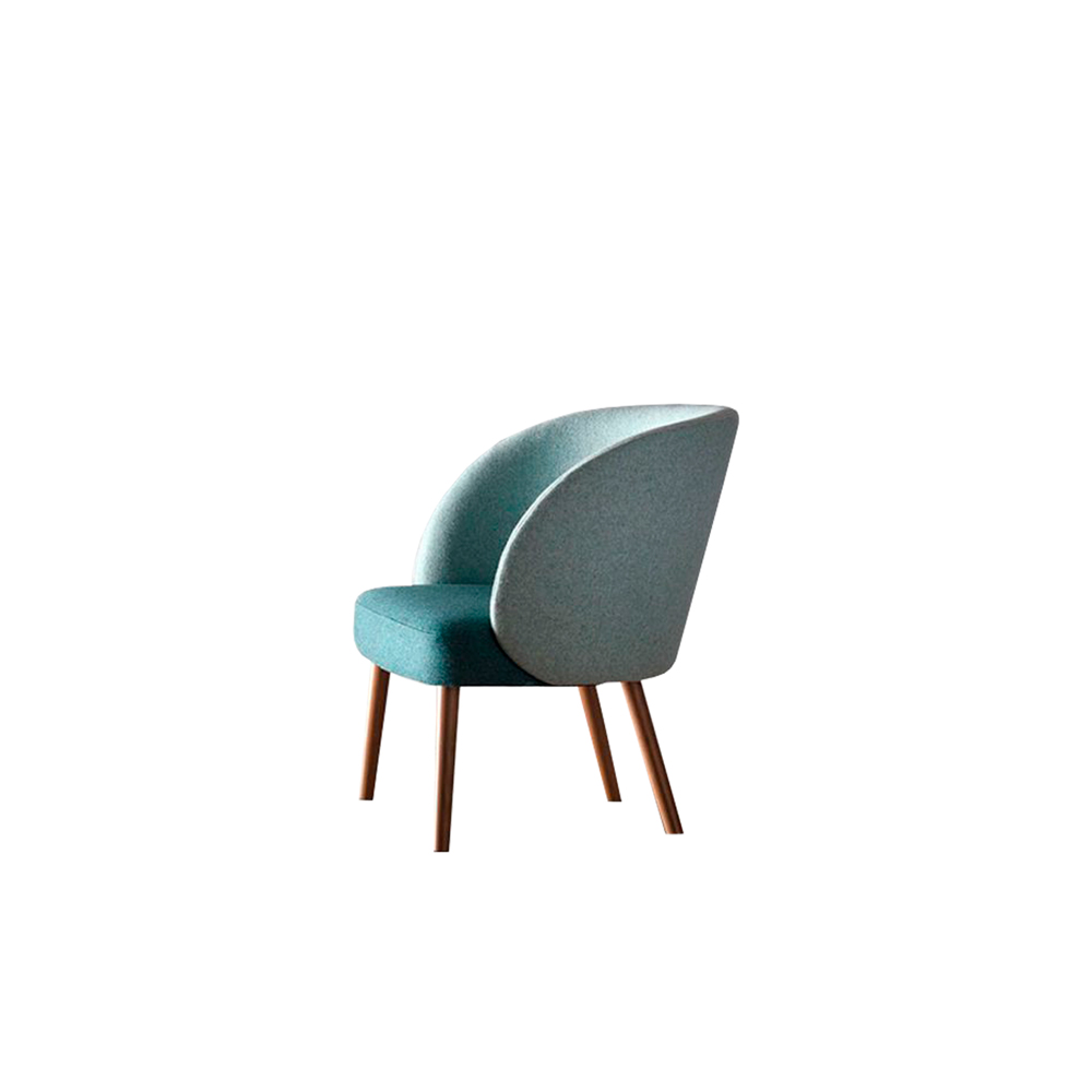 Kyoto Lounge Chair - Kyoto collection is made up of armchair, lounge and stool. The curved backrest gives a very smooth line: it protects and wraps as a shell, providing an excellent comfort.   Wooden legs can be customized in a range of finishes:                               RAL/NCS colour lacquering I Aniline RAL/NCS colour I Acrylic finish  Different metal basis are also available for this model. | Matter of Stuff