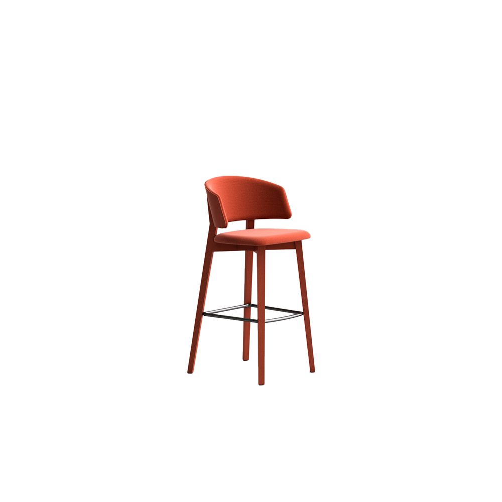 Wrap 6C65 Stool - Seat collection in stained or lacquered beechwood, with fabric, leather or eco-leather upholstery. Capable of transforming a room, a venue, a restaurant, a café through its softness and colour.  Lacquered versions available for an additional surcharge: Ral 9016 White I  Ral 9017 Black I Ral 7030 Stone I Ral 3020 Red | Matter of Stuff