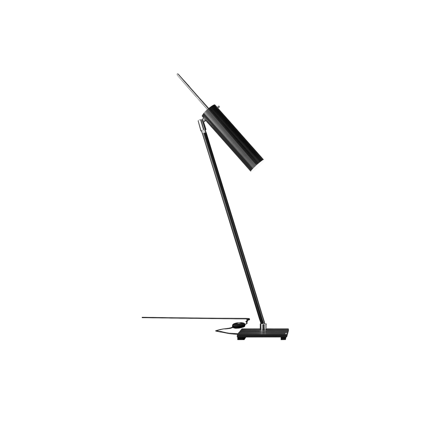 Lucenera 500 Table Lamp - Lucenera was developed from a simple concept: taking the limelight off the lamp and giving centre stage to the light, depending on the subject illuminated. To achieve this, Enzo Catellani used a black carbon tube and flexible support. The shape is the simplest one possible; the object is the utmost in versatility. | Matter of Stuff
