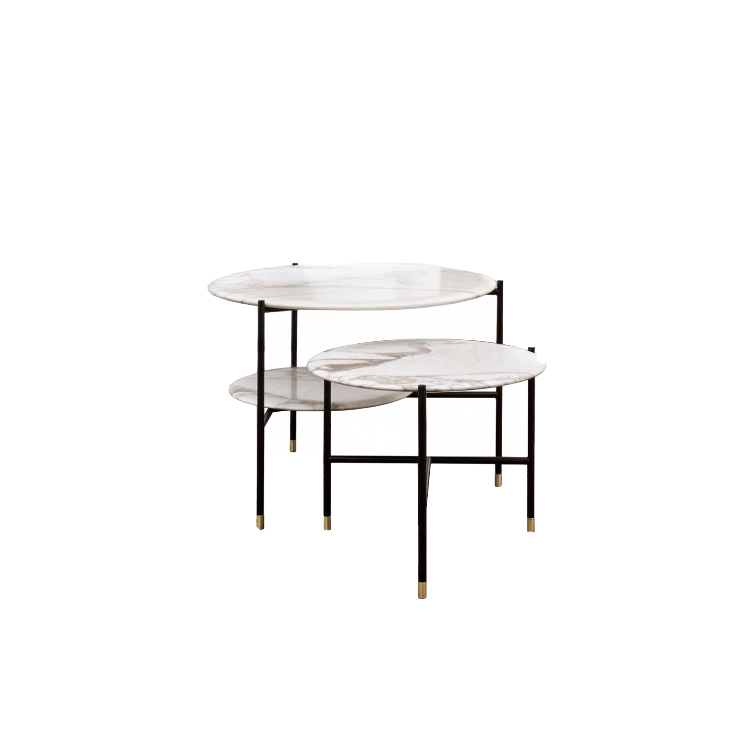 Adrian Round 70R Low Table - Collection of occasional tables featuring smooth edged tops, almost visually floating on a slim frame.  Realized in various dimensions, the Adrian coffee tables are available with tops in matt or glossy lacquer or in the different marble kinds. The frame in tubular metal can be entirely in bronzed brass or black – also completed by refined bronzed brass tips. | Matter of Stuff