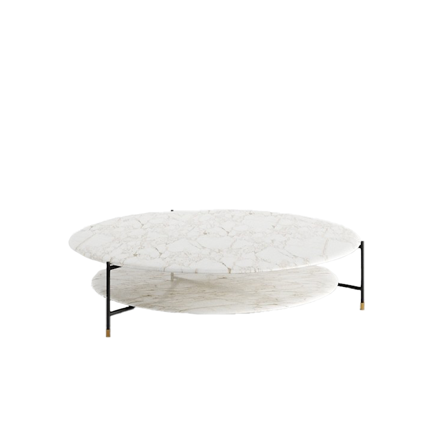Adrian Round 130R Low Table - Collection of occasional tables featuring smooth edged tops, almost visually floating on a slim frame.  Realized in various dimensions, the Adrian coffee tables are available with tops in matt or glossy lacquer or in the different marble kinds. The frame in tubular metal can be entirely in bronzed brass or black – also completed by refined bronzed brass tips. | Matter of Stuff