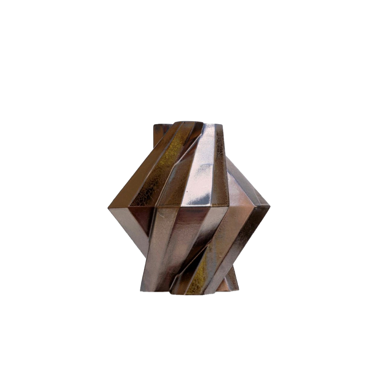 Fortress Pillar Vase Bronze - Designer Lara Bohinc explores the marriage of ancient and futuristic form in the new Fortress Vase range, which has created a more complex geometric and modern structure from the original inspiration of the octagonal towers at the Diocletian Palace in Croatia. The resulting hexagonal blocks interlock and embrace to allow the play of light and shade on the many surfaces and angles. These are handmade from ceramic in a small Italian artisanal workshop and come in different finishes.  | Matter of Stuff