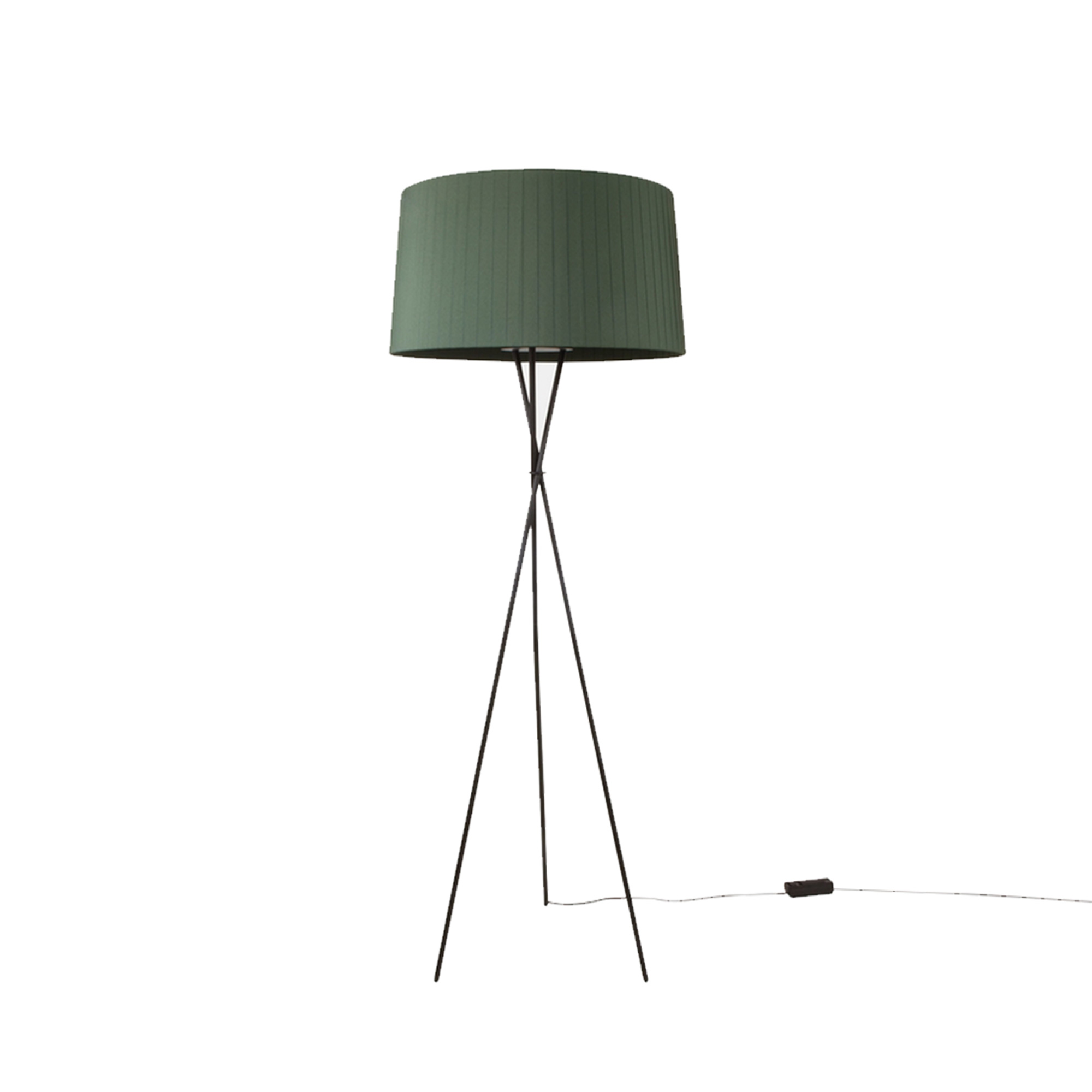 Tripode G5 Floor Lamp - Trípode is a family conceived to lend neutral spaces a warmer touch through the use of colour. This series features two sizes of table lamps, a widely known floor version (the G5), in addition to a pendant lamp version in various sizes. Designed in 1994, the GT5 pendant lamp was the first of a large family created as an alternative to the use of cardboard, methacrylate, or solid textile shades; the use of handmade cotton ribbon reincorporates traditional craftsmanship. With the light on, the shade provides a warm light, rich in nuances. With the light off, this lamp is a sculptural statement piece that enhances the room.  | Matter of Stuff