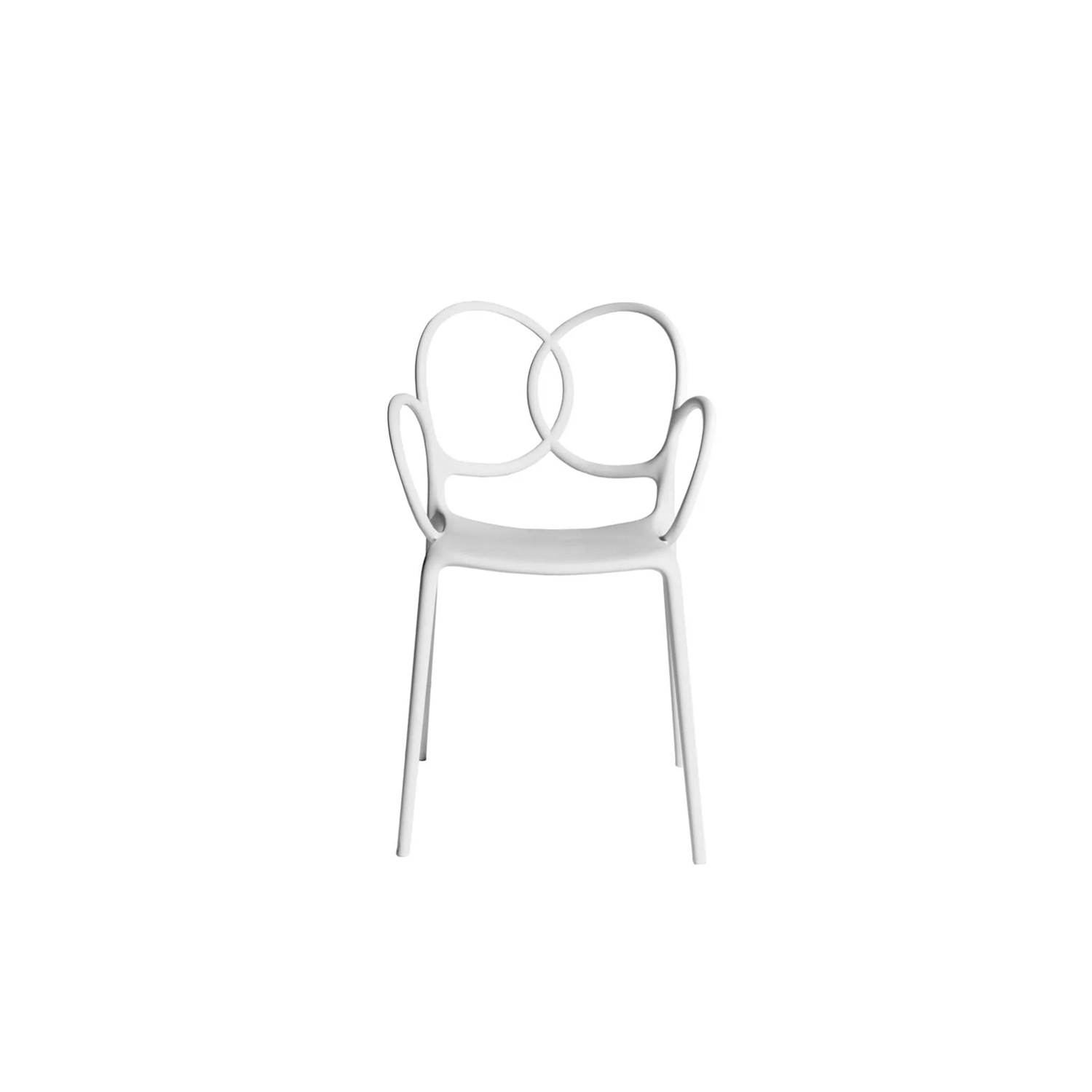 """Sissi Armchair Green Collection - Sissi is a sculptural, very versatile, self- centred and contemporary piece. """"Its modern design winks cheekily at the past and at the female world. The merging and intersecting rings look as if they have been bent by the hand of the viennese craftsmen, whom since over a century ago, would offer the world an elegant and design archetype. The connections, linked in such a sensual way, turn sissi into a refined and sculptural piece, just like the ultimate viennese chair - famous for its wooden curves- it is inspired by. Just like a confident, self-assured women changes her clothes to suit her mood, this chair is complemented by an essential part of its design, the seat cover.""""Ludovica and Roberto Palomba.  The material with which this collection is made derives from industrial recycling coming from internal production waste, and therefore controlled, and from post-consumer recycling, that is from products disposed of with separate collection - such as PET bottles and containers, for instance - and recycled, thus giving life to new objects.  All the seats made with this material are characterized by neutral colors - such as black in particular - which makes them homogeneous. 