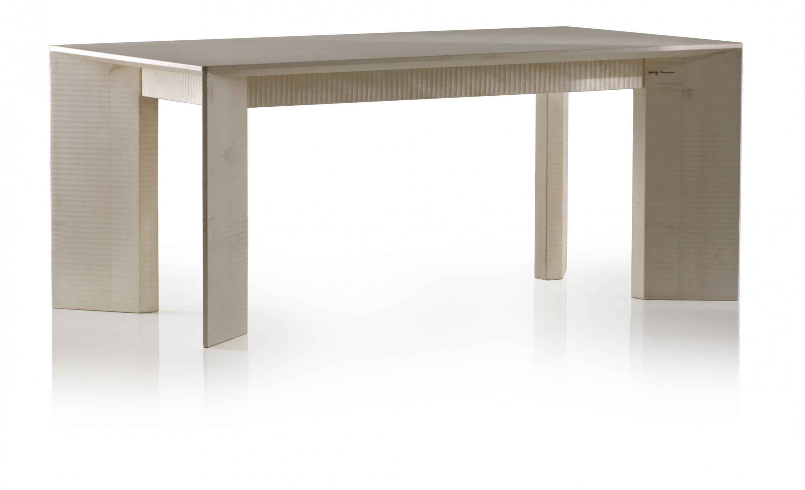 Campiello Dining Table - <p>Campiello is a table made with planks of solid wood, manually finished on all sides by planing. The entire manufacturing and finishing process is carried out manually in our workshop. The wood used for this item is maple, a wood from the temperate European zone traditionally used for musical instruments; it has a subtle, fine grain, very distinctive, and characteristic white colour. This distinctive colour, visible as we work the wood, tends to turn yellow rapidly unless treated appropriately to preserve the original whiteness.<br /> A touch of pure geometry is at the base of this noble structure.</p>  | Matter of Stuff