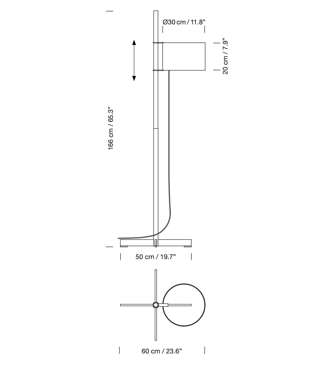 TMM Floor Lamp - <p>In an exquisite demonstration of formal serenity and functional efficiency, Miguel Milá brilliantly separated the three basic components of any lamp: the structure, the electrical components and the shade, that are easily assembled and maintained throughout its very long life. And becomes ever more beautiful with time.</p> <p>A cross-shaped base supports a square shaft that becomes circular in the middle, allowing the shade to be moved up and down. The shade's height is adjustable via a rubber band stopper. A genuine lesson in intelligence and good taste, making minimal use of components.</p>  | Matter of Stuff