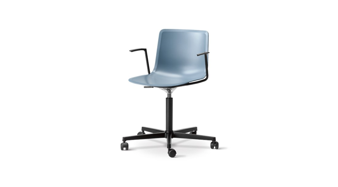 Pato Office 5 Point Swivel Base Armchair - Pato Office Armchair is fitted with a 5-point star swivel base on casters. The frame has a swivel feature with height adjustable gaslift and a tilt function for comfortable task seating. The arms can be used for suspension on any table. The chair can be tuned from basic to exclusive with optional upholstery.  Pato is a prime example of our focus on sustainability and protecting the environment, reflected in a chair that's 100% renewable and recyclable. All components can be incorporated into future furniture production, thus contributing to a circular economy by minimising the use of materials, resources, waste and pollution.   Merging traditional production methods with cutting-edge technology, Pato is a human-centric, highly versatile series of multi-purpose functional furniture that draws on our in-depth experience with materials, immaculate detailing and heritage of fine craftsmanship. Allowing us to apply our high standards of texture, finish and carpentry techniques to an array of materials in addition to wood for products aimed at a mass market.   With its clean lines and curves, Pato echoes the ethos of Danish-Icelandic design duo Welling/Ludvik. Demonstrating their belief that good design has the ability to be interesting, even when reduced to its most simple form. Where anything extraneous is eliminated and every detail has a purpose.   Together we spent nearly three years developing the shell structure to have a soft surface that's also wear and tear resistant. Enhancing the chair's ability to optimally conform to the user's body is a subtle beveled edge. A technique from classic cabinetmaking, which gives the chair a sense of handcrafted finesse. Each Pato is detailed and finished by hand by our highly skilled crafts people, who refine the beveled edge and the silky, resilient surface. Setting a new standard for the execution and finish of polypropylene.   Since the success of its initial launch, we've expanded 