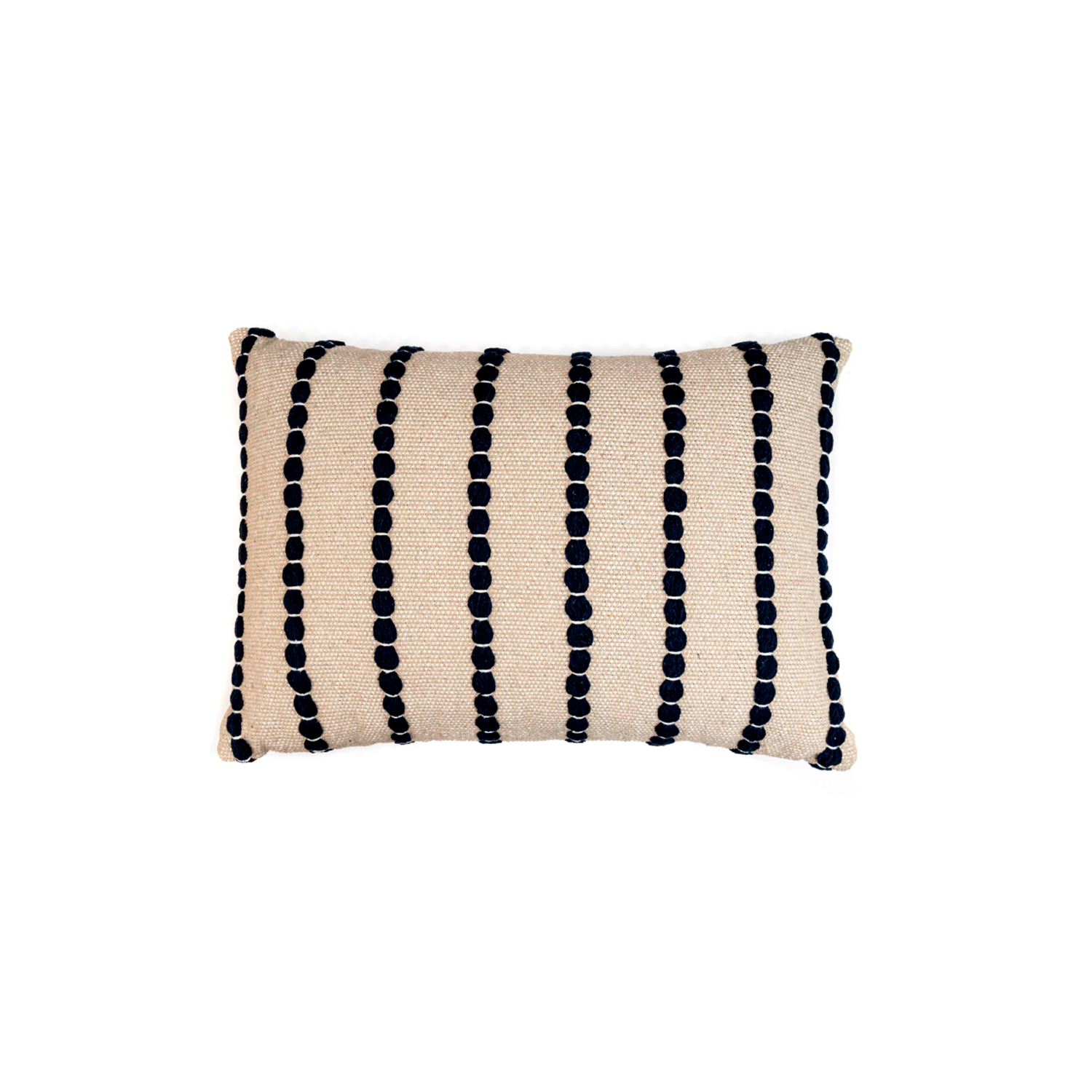 Lua Noite Cotton Cushion Large - The Flame Sustainable Collection is made from a selection of organic cotton fibres, eco-friendly, hand-woven or elaborated using traditional hand-loom techniques. Carefully knitted within a trained community of women that found in their craft a way to provide their families.  This collection combines Elisa Atheniense mission for responsible sourcing and manufacturing. Each piece is meticulously hand-loom by artisans who practised methods with age-old techniques. With a minimal electricity impact, each item crafted is therefore unique and exclusive. Weavers and artisans are the ultimate lifelines of Elisa Atheniense Home Products.  The hand woven cotton, washable cushion cover is made in Brazil and the inner cushion is made in the UK.   | Matter of Stuff