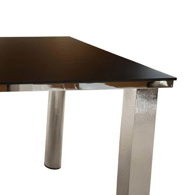 Fraterraecielo Table - This Fraterraecielo table features an antique blue aluminium top over a silver base with needle texture. | Matter of Stuff