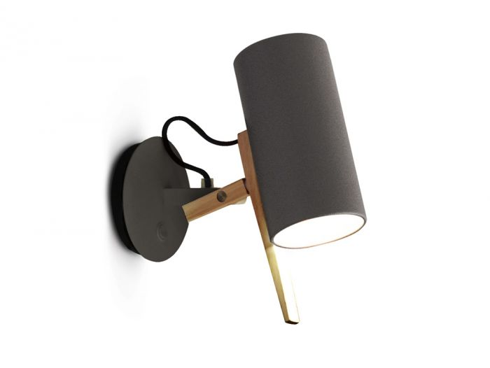 Scantling Wall Light - A combination of basic geometric shapes and the use of wood together with metal give this range of lamps a homely appearance, at the same time as a clearly defined personality. Scantling is a term used to define the size to which a piece of wood or stone is measured and cut, derived from the name of an old unit of measurement. The interplay of the different elements used in its design gives this lamp an archetypal, almost graphic appearance. | Matter of Stuff