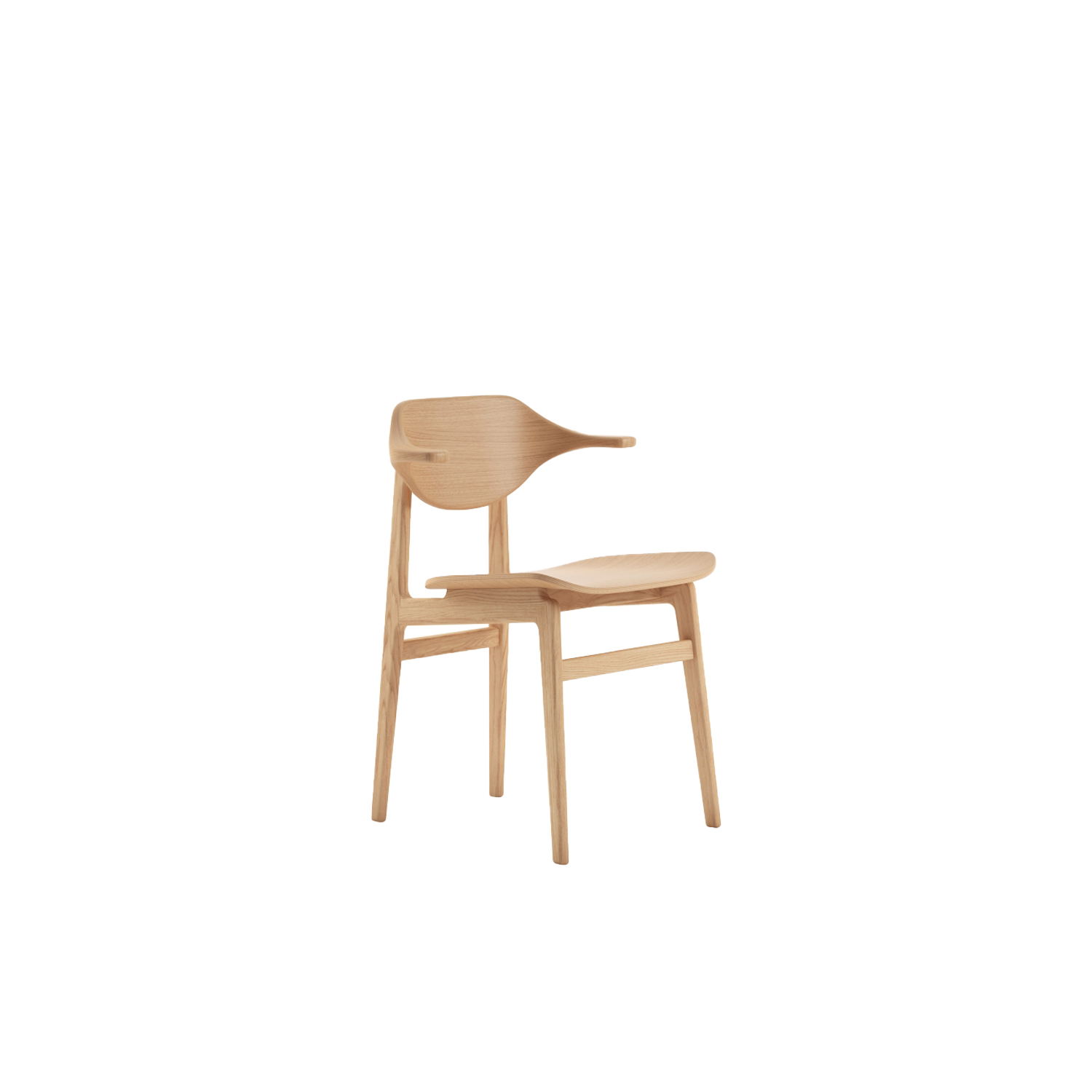 Buffalo Dining Chair - Buffalo is the latest edition to the family of dining chairs based on the proven NY11 frame. The back is made from multiple layers of oak veneer forming the characteristic buffalo horn shape. The back and armrest gently curves around the body and provides superior comfort.  Buffalo comes with legs of solid oak and a seat of laminated oak veneer. The seat is available with various upholstery options. | Matter of Stuff