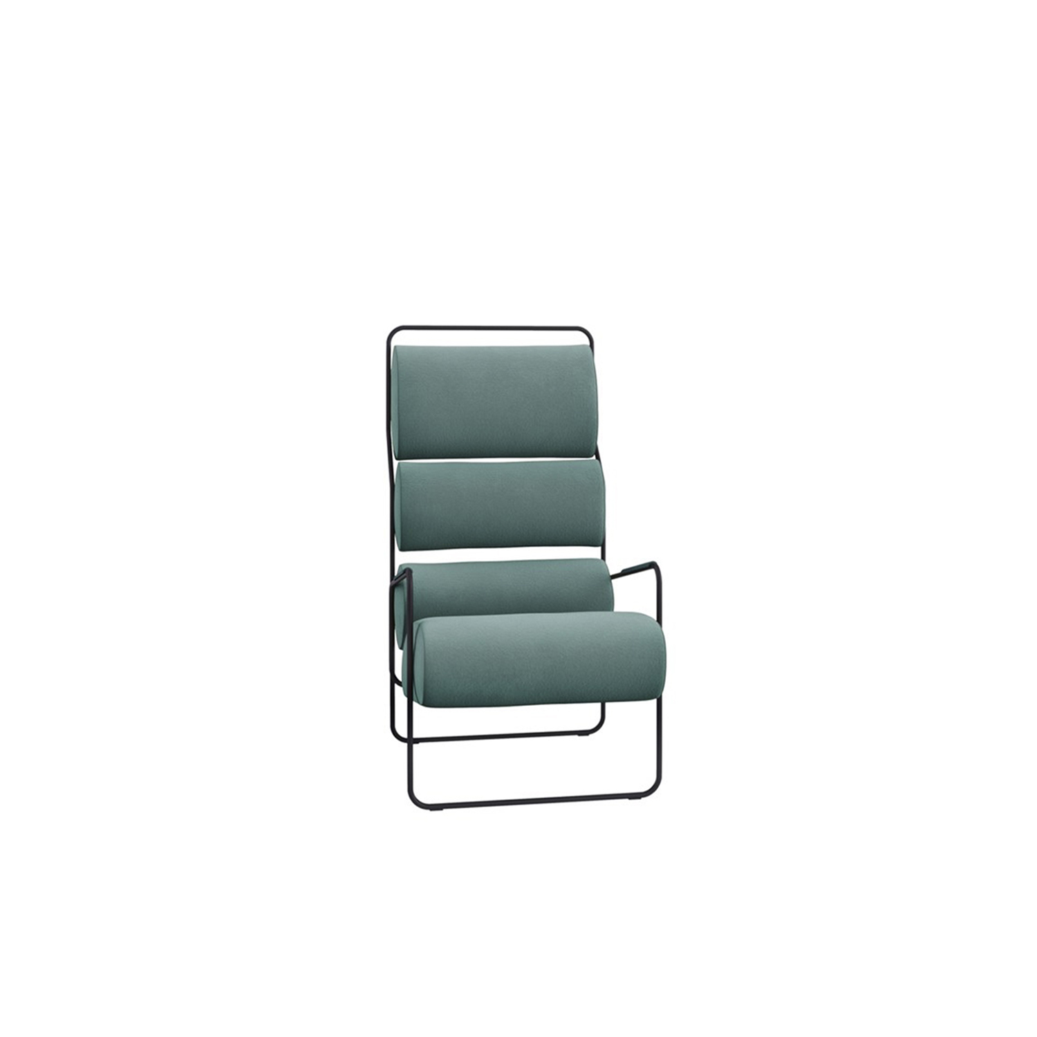 Sancarlo Lounge Armchair - Sancarlo is a reissue of a classic designed by Achille Castiglioni.‎ Both versions, armchair and sofa, are composed of a simple, linear, curved tubular frame, on which a number of upholstered cushions are positioned.‎ A ground-breaking concept when it was first presented, it has now been made even more effective with differentiated foam filling, in which the density varies according to the region of the body to be supported.‎ Full of character, Sancarlo is a veritable icon of 20th-century design.‎