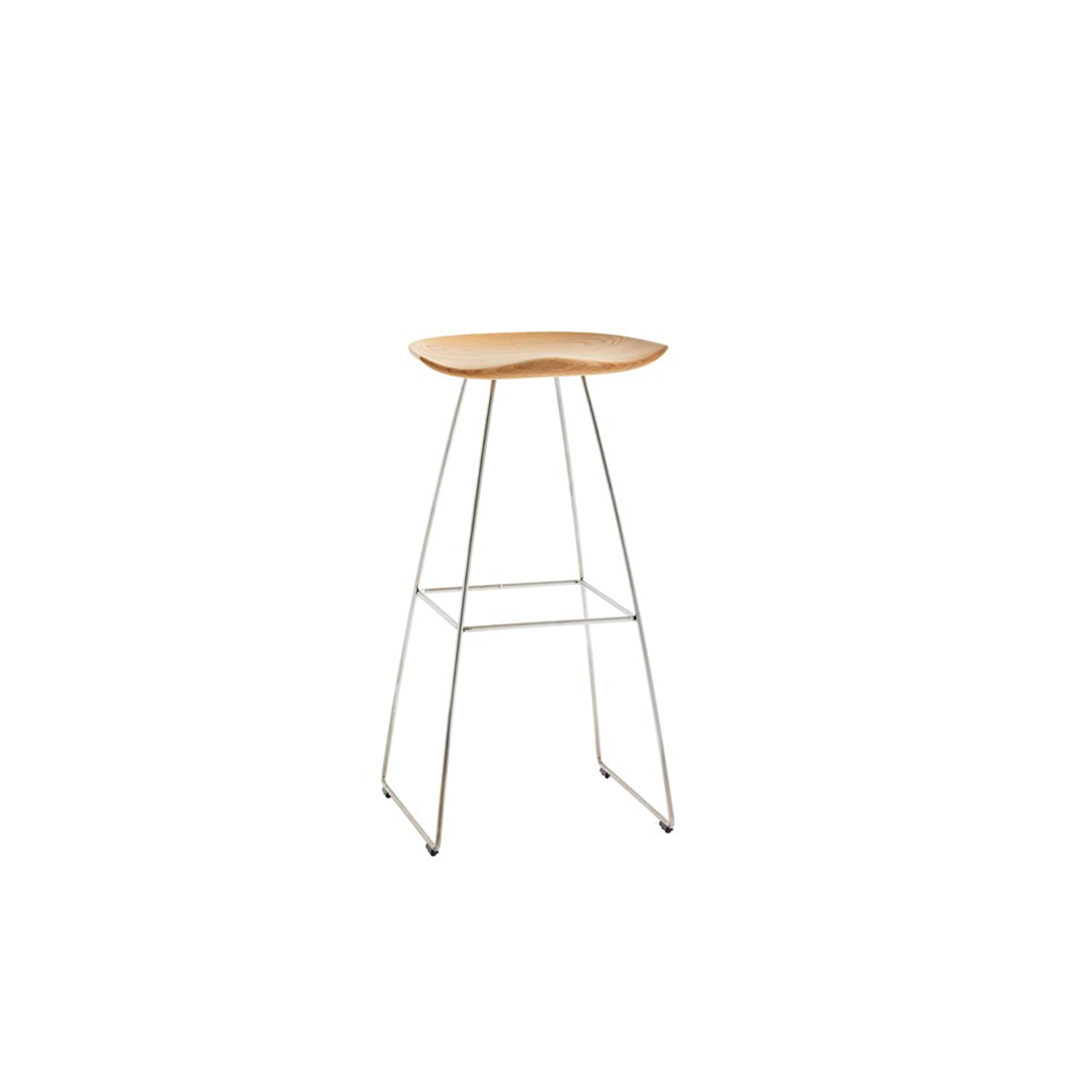 Kaz High Barstool - The inspiration for Kaz came from a tractor seat, here refined in the form of a stool that combines a contemporary look with timeless functionality. A wooden seat on an underframe of sturdy steel rod gives the stool a minimalistic expression that draws further attention to the wooden seat.