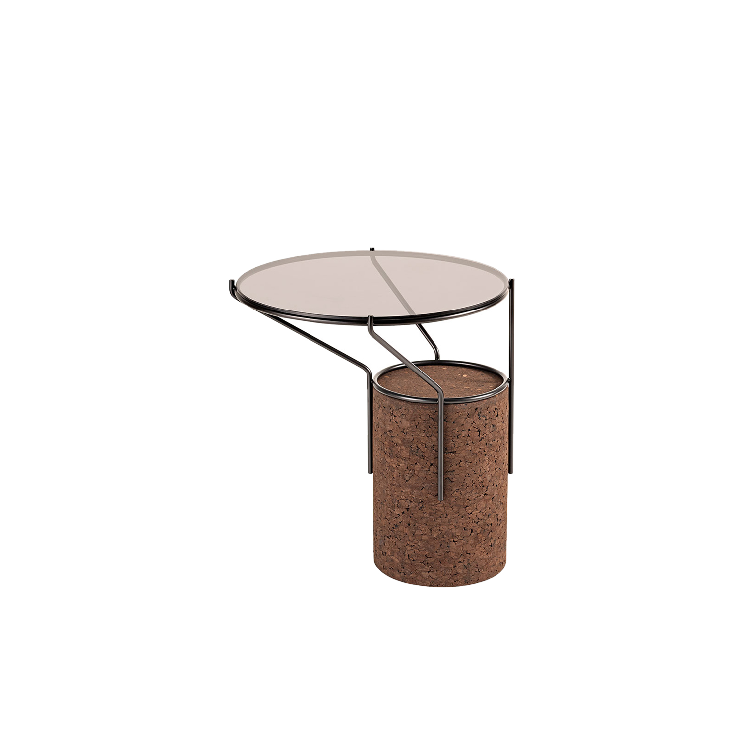 """Frame Side Table - It is only used cork of the branches (falca) for the manufacture of cork granules. These are block clusters in autoclave, being 100% natural process, without use of additives. Technology, developed by Sofalca, consists of injecting water vapour through the pallets that will expand and agglutinate with the resins of the cork itself. This """"cooking"""" gives also dark colour to the agglomerated cork, like chocolate. In the production of steam I used biomass, obtained on milling and cleaning the falca, what makes it truly ecological production and without waste, 95% energy self-sufficient. As a super-material, cork offers so many advantages, because in addition to its excellent thermic, acoustic insulation and anti vibration characteristic, it is also a CO2 sink playing a key-role in the environment. 