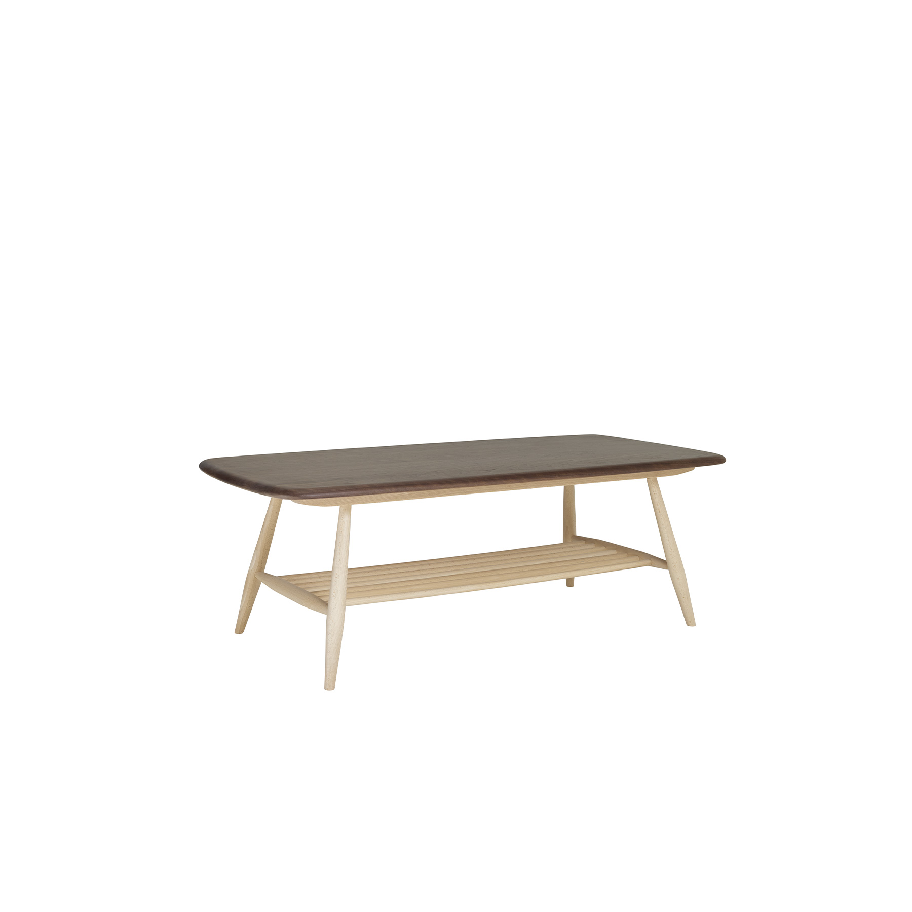 Originals Coffee Table - <p>The Ercol Originals are pieces of timeless and classic design that never date or show their age. It is furniture that is as relevant and as functional now as it was when it was created in the 1950s and 1960s. This furniture was designed by Ercol's founder, Lucian Ercolani, who drew for his inspiration on the time-proven local design and craft in the Chiltern Hills around where he lived and built his first factory in 1920 in High Wycombe. Using the strength of beech and the beauty of elm he carried this definition on into a huge variety of dining, kitchen, and school chairs and then extended the idiom into the low easy chair range epitomised by the 206 armchair and the studio couch. The beauty of the colour and the grain of the elm took Lucian on to use elm for the tables and cabinets of the Originals and the following Windsor range. This coffee table mirror features prominently within the Windsor range.  Individually shaped spindles construct the lower shelf which gives the table a two-tiered appearance as well providing a handy storage area for books and magazines. Tapered legs and fluid rounded edges on the ash table top give this piece an organic feel. This table will be finished in your choice from a range of lacquer finishes that both protects the timber, whilst enabling you to choose the look to match your style and décor. This table goes particularly well with the 206 Windsor armchair or with the Evergreen sofa and armchair.</p>    Matter of Stuff