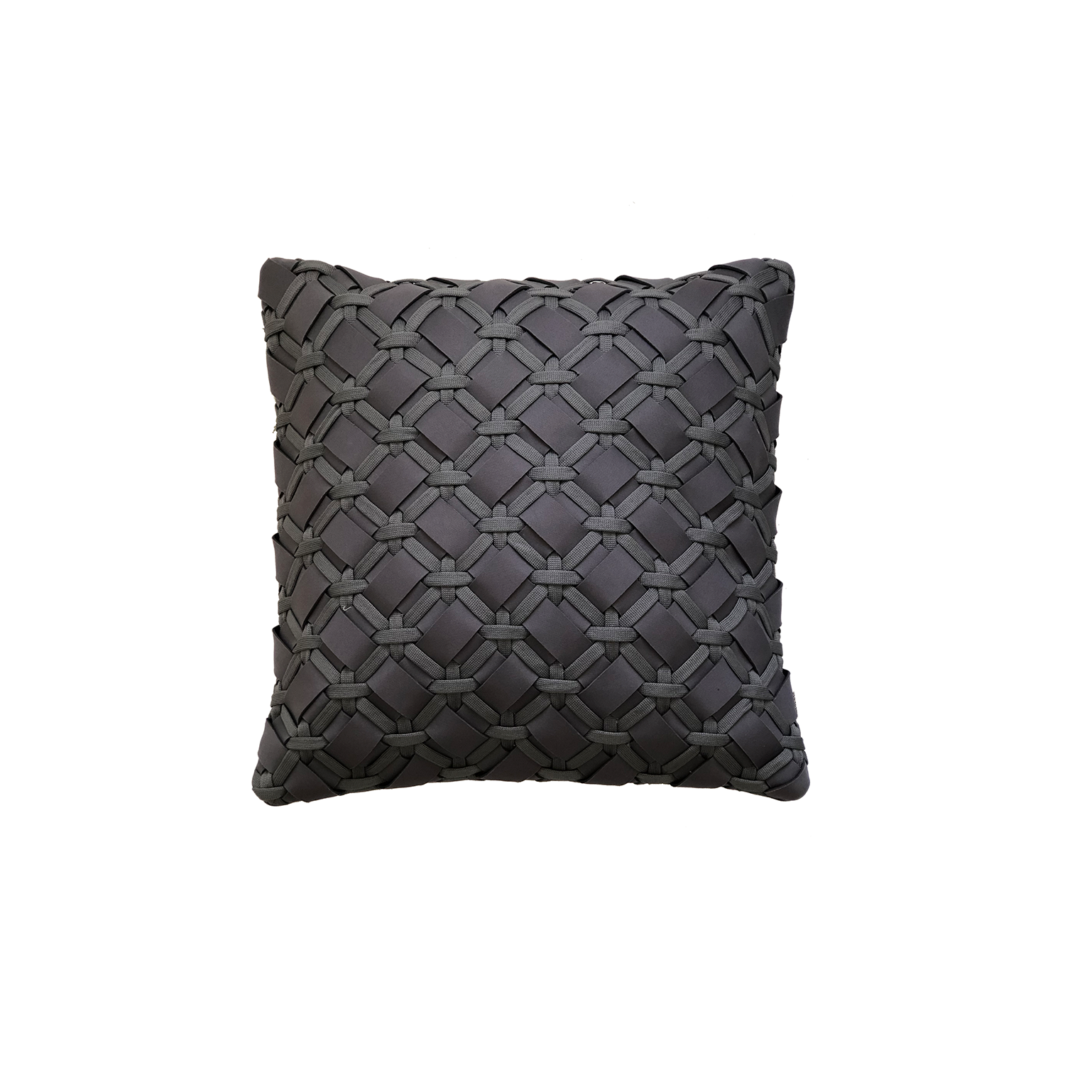 Geometrico Neo Cushion Square - The Geometrico Neo Cushion is carefully knitted within a trained community of women that found in their craft a way to provide for their families. The outdoor collection is made with synthetic fibres, resistant to weather exposure. The use of neoprene brings comfort and technology to the cushions.  The front panel is in neoprene combined with hand woven nautical cord, made in Brazil.  The inner cushion is in Hollow Fibre, made in the UK.  Please enquire for more information and see colour chart for reference.  | Matter of Stuff