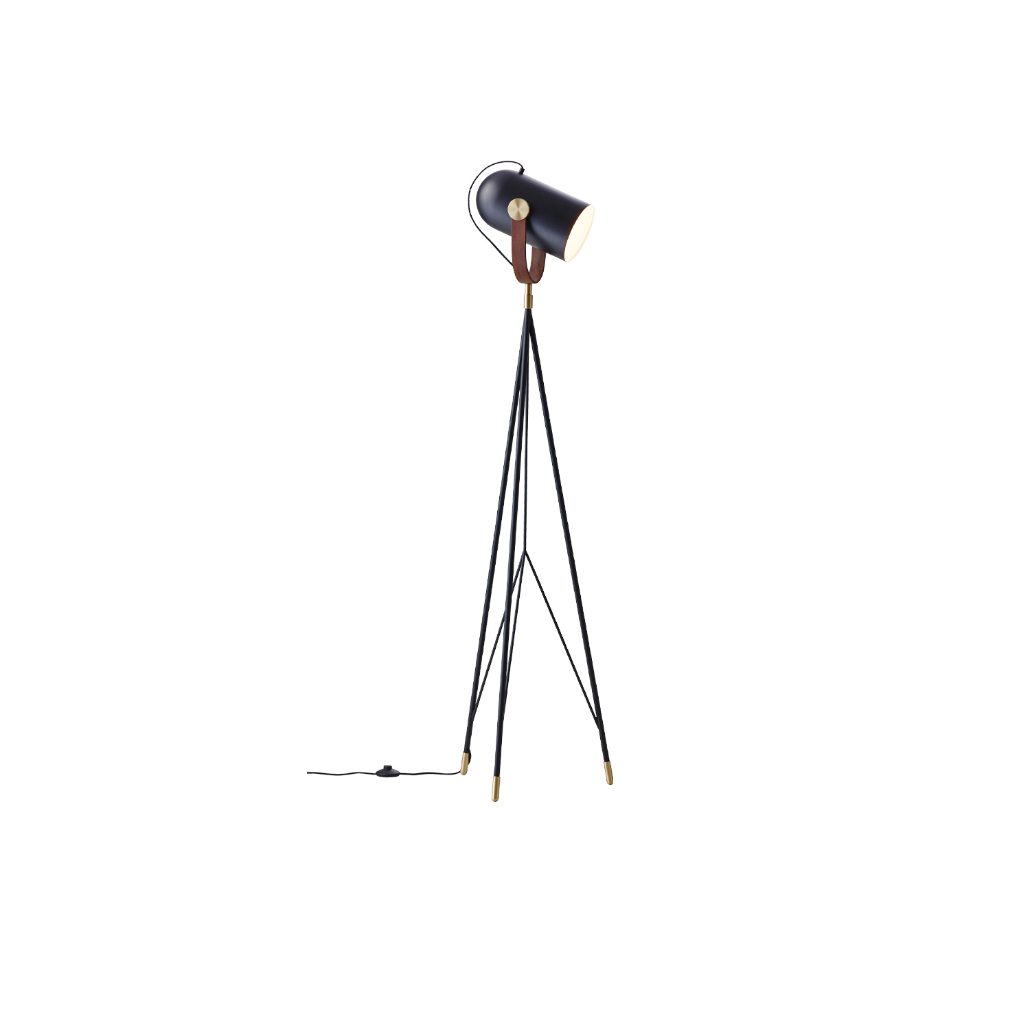 Carronade High Floor Lamp - This is truly a sculpture in lighting. The beautiful floor lamp exhibits craftsmanship at its finest. Iconic in design with a diffused face held atop an elongated geometric stand by way of a piece of skillfully manipulated solid American walnut and brass discs. Equipped with the multi-functionality of a traditional floor lamp and the ability to determine the direction of the light.   Carronade high floor lamp comes in a black or sand painted aluminium finish with brass or aluminium metal discs and American walnut or oak details. All models are fitted with LED light bulbs.   CARRONADE High exudes pure style and elegance in all surroundings. It is not difficult to see how designer Markus Johansson drew inspiration from 17th-century ship cannons as he created the CARRONADE lamp series. The idea of a small table lamp with a distinctive but playful shape of a small cannon was quite a challenge. Realizing gunpowder and cannonballs references by way of modern lighting technology then synchronized with 21st-century contemporary Nordic lighting designs was no simple task but very much a 'Eureka' moment.   Matter of Stuff