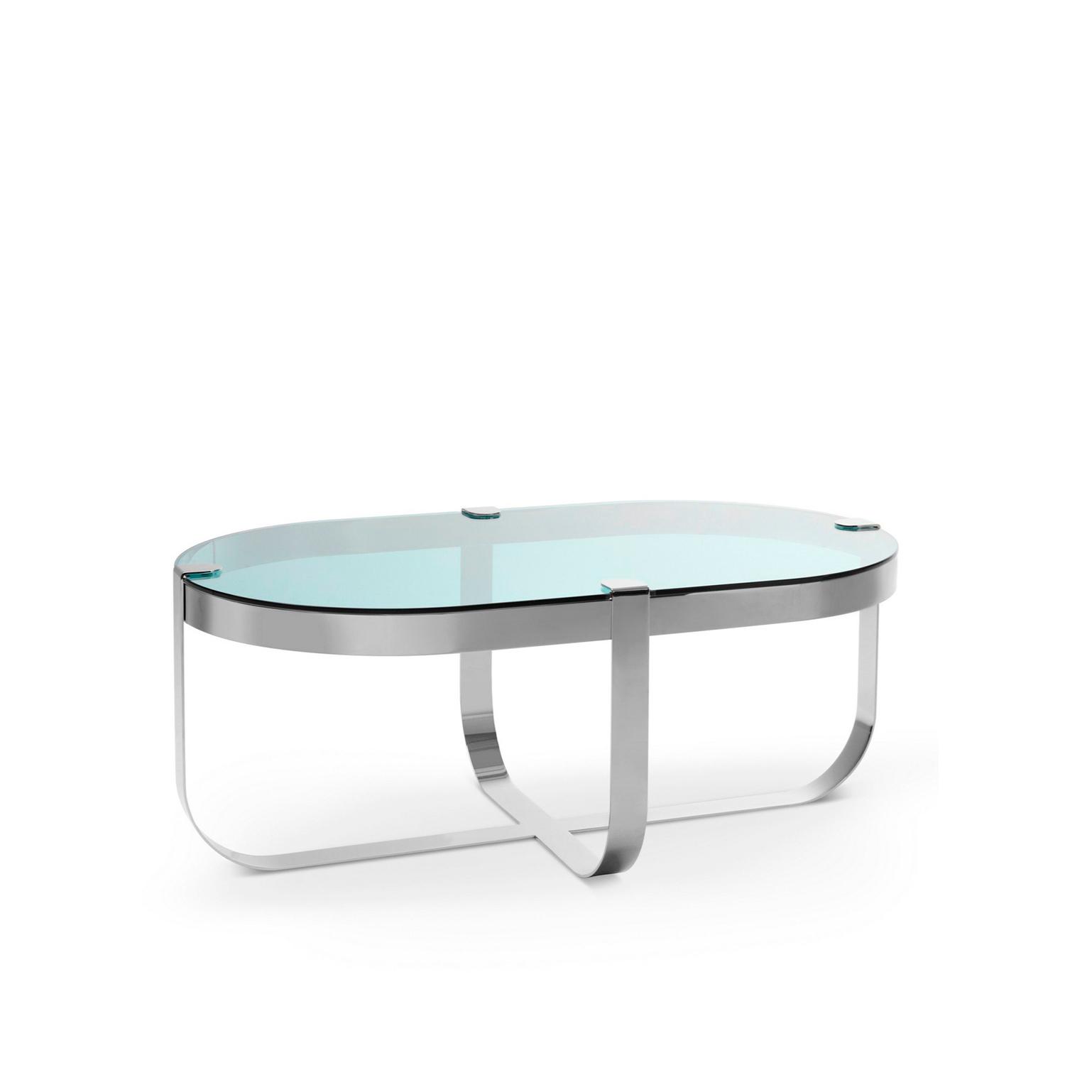 Ring Oval Coffee Table - Elegant like jewellery, the Ring coffee tables are inspired by raw cuts of precious stones prior to being mounted into rings. The choice of materials is aimed to emphasise this inspiration behind the collection. The metal base structures are available in copper, brass, steel and nickel, each of which corresponds to a geometric form. Like in jewellery design, the glass tops in transparent or light colours are literally set onto the base structures.  Finishing: Round coffee table polished copper structure - smoked glass top; Square coffee table satin finished brass structure - extra clear glass top; Octagonal coffee table black nickel structure - bronze glass top; Oval coffee table clear chrome structure - sea water glass. | Matter of Stuff