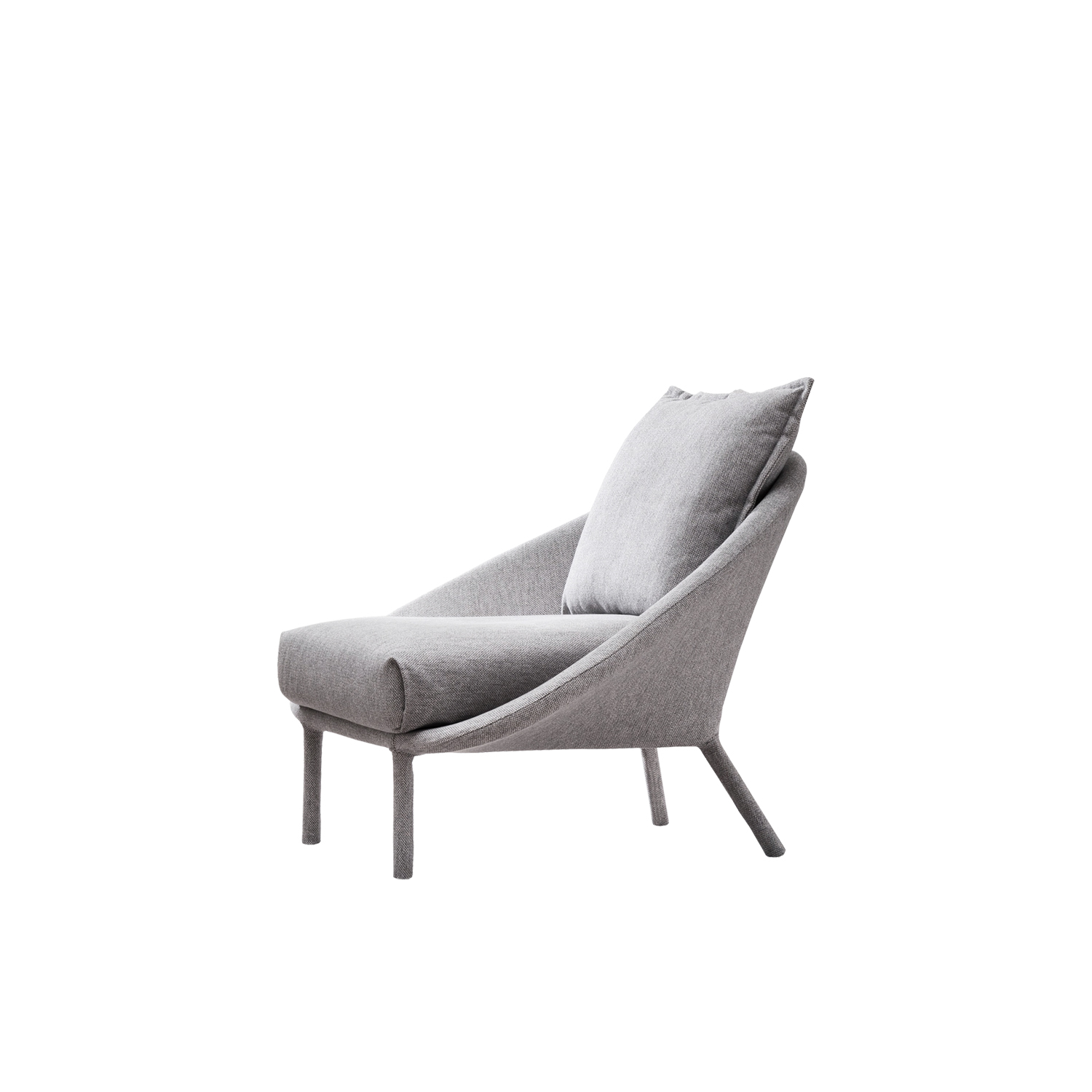 Lem Lounge Chair - The tubular structure with the aid of straps, is fully covered in fabric, which tends, without using foams, creating soft and sinuous shapes which soaring upwards thanks to the slender legs, just like a lunar module. Soft seat cushions and back rest on the shell fabric to ensure maximum comfort. The series LEM is complete of four variants, two or three seater sofa, armchair and ottoman.