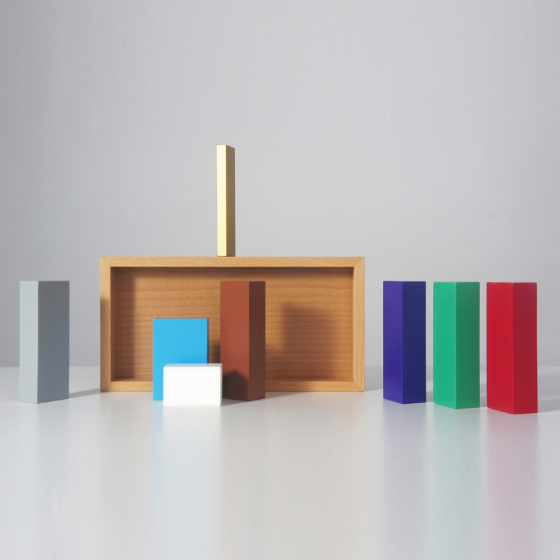 Colour Nativity - Continuing his research into the meaning anduse of colour in objects, Sebastian Bergne hasproduced a contemporary nativity set. Each of the characters is a minimal wooden block that isrecognisable by it's colour, proportion and placein the composition. The project makes use of ourlearned experience from exposure to thousandsof nativity images, toys and christmas cards over theyears. Part of a second personal edition of 250.  | Matter of Stuff