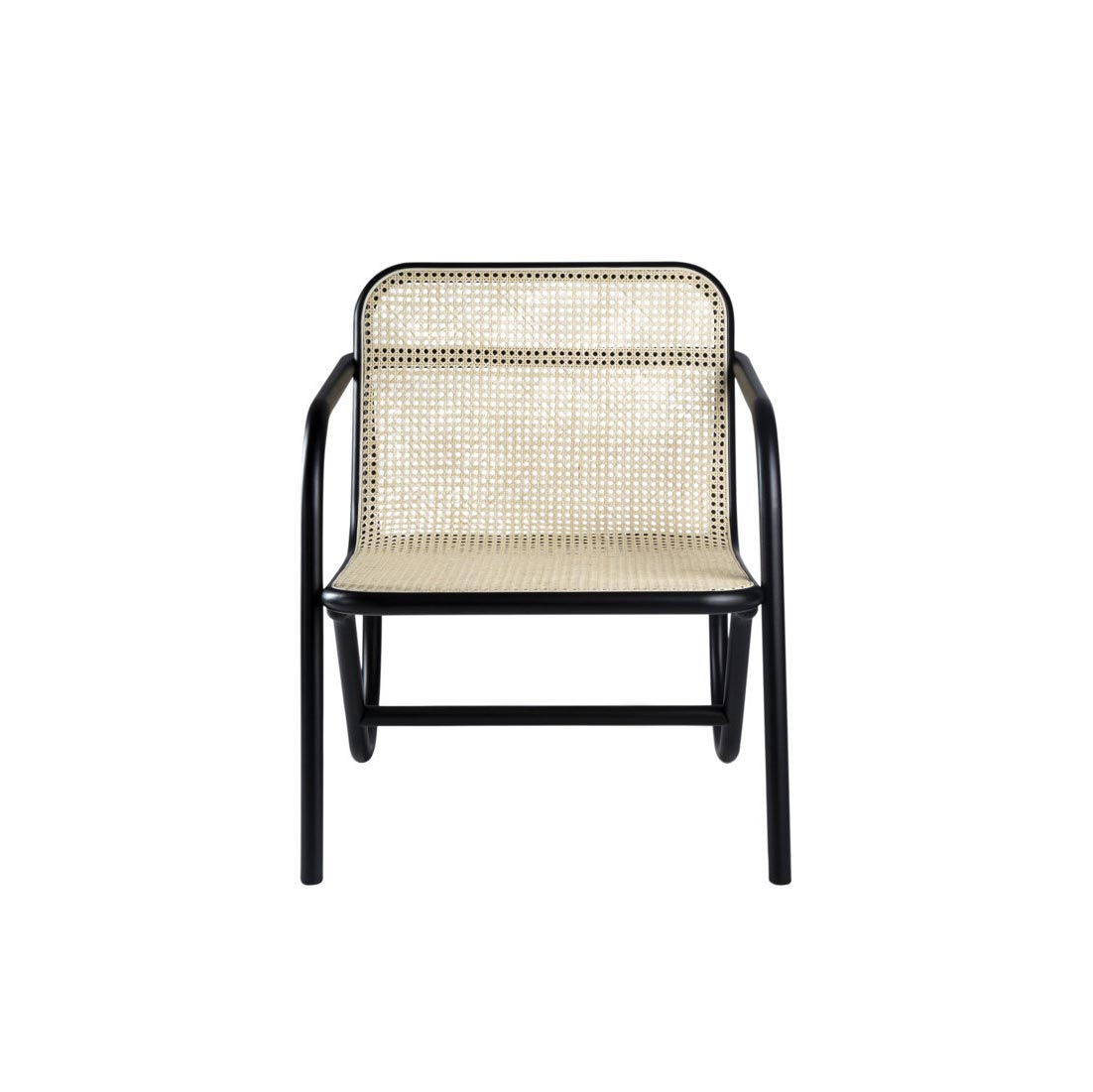 N. 200 Upholstered Black Armchair - N.200 celebrates the 200th anniversary of the company's first joinery, launched by Michael Thonet. With a deeply harmonious approach, the designer has brought his poetic yet disciplined hand to signature Gebrüder Thonet Vienna design features: bent beechwood and woven cane, the distinguishing features of N.200, where method and form create a timeless chair with a deliberately clean, minimalist elegance.  | Matter of Stuff