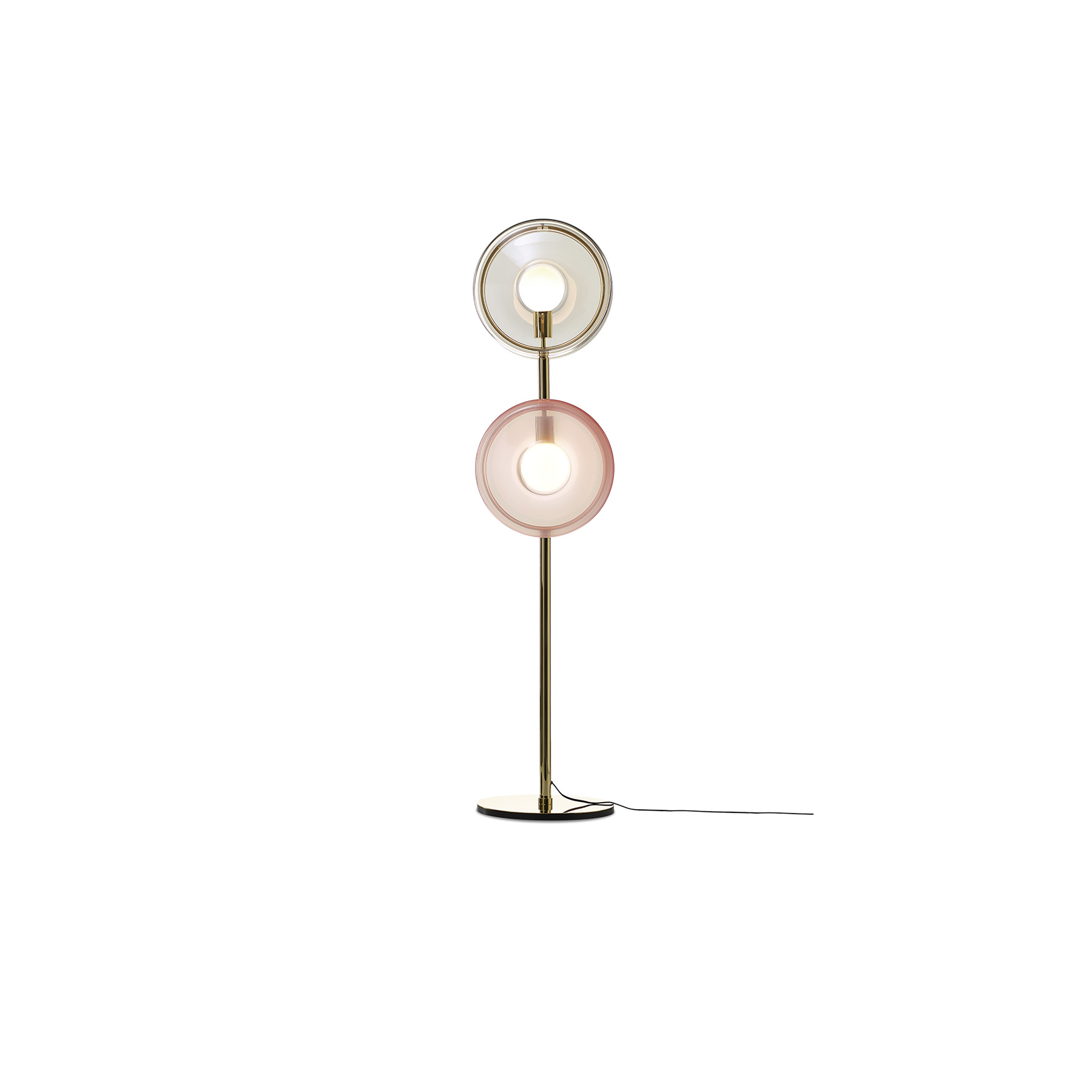 Orbital Floor Lamp - Orbital paths of multicolored celestial bodies with hypnotically glowing cores. This ingenious design of hand-blown glass lenses, held together by a metal mounting, creates a fascinating visual experience from different angles. The glass parts of orbitals are mouth-blown thus the intensity of color and gradient may slightly vary. A range colours are available in a number of combinations. Prices may vary.  Please enquire for full details.