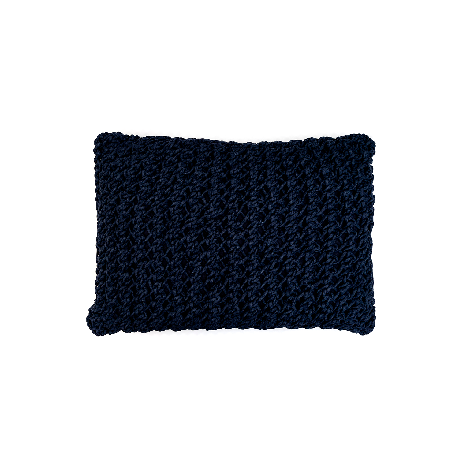 Gaia Neo Cushion Large - The Gaia Neo Cushion is carefully knitted within a trained community of women that found in their craft a way to provide for their families. The outdoor collection is made with synthetic fibres, resistant to weather exposure. The use of neoprene brings comfort and technology to the cushions.  The front panel is in neoprene combined with hand woven nautical cord, made in Brazil.  The inner cushion is in Hollow Fibre, made in the UK.  Please enquire for more information and see colour chart for reference.  | Matter of Stuff