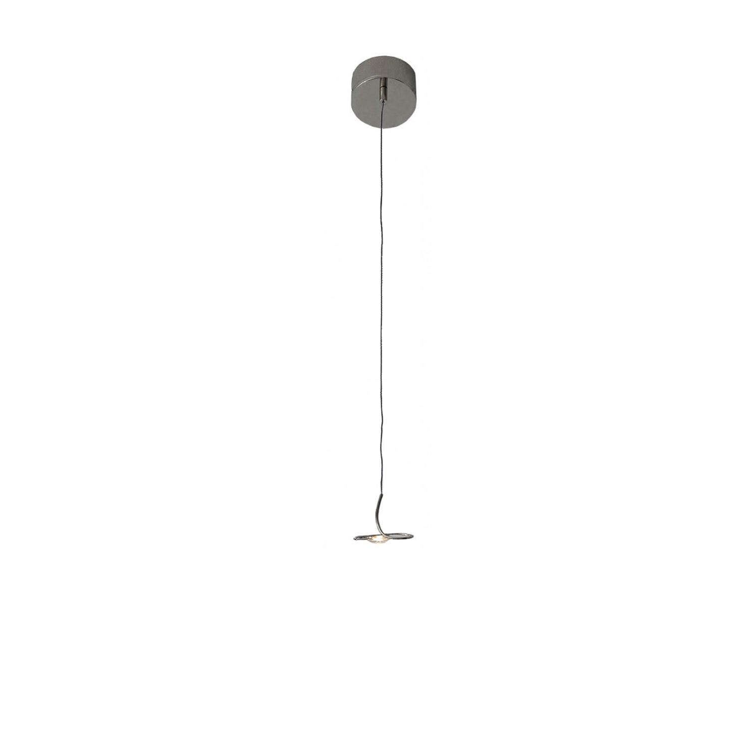 """Jackie O Pendant Lamp - Jackie O was developed at the request of an architect, who wanted to place the """"Wa Wa"""" light over a large table. While working on the project, Enzo Catellani realised the unique quality of the item he had in his hands. He strived once again to achieve """"absolute zero"""" and hoped even to eliminate the cable, which he did so by developing, for the very first time, an extremely thin cable covered in blue fabric, later also used in other items. 