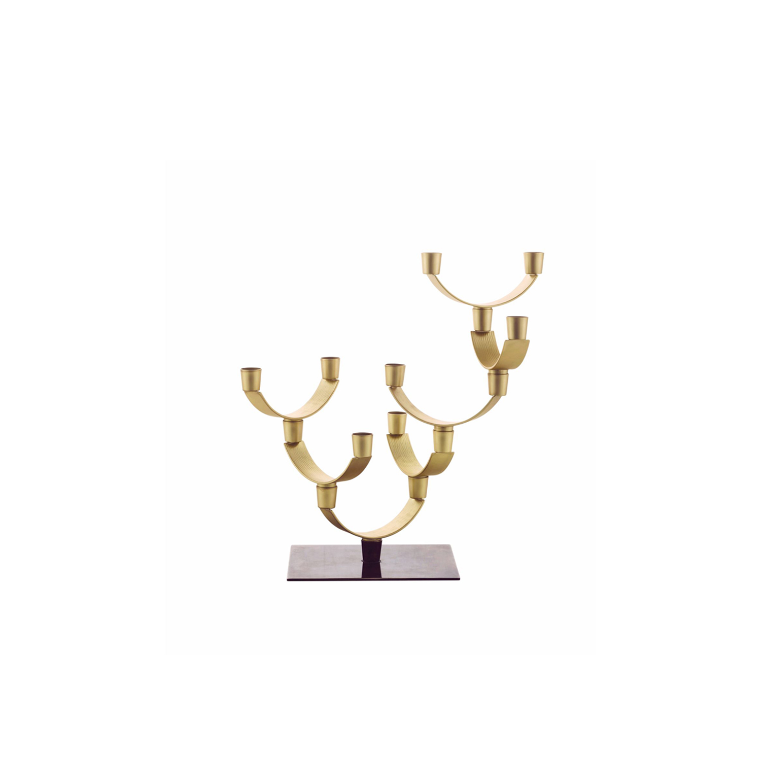 Corallo Piccolo Candleholders - Candelabra composed of 7 elements in satin brass on a base in smooth and burnished brass. | Matter of Stuff