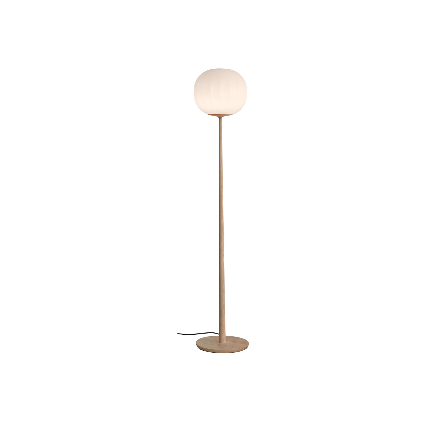 Lita Floor Lamp - Lita is a decorative lamps, the result of a delicate design process that mixes imagery, signs, geometric textures and natural materials.  The diffuser in opaline blown glass – whose surface is scanned by the repetition of slight vertical cusps that vanish at the extremities – is combined with a wooden structure, making Lita a product with a forceful material character.  | Matter of Stuff