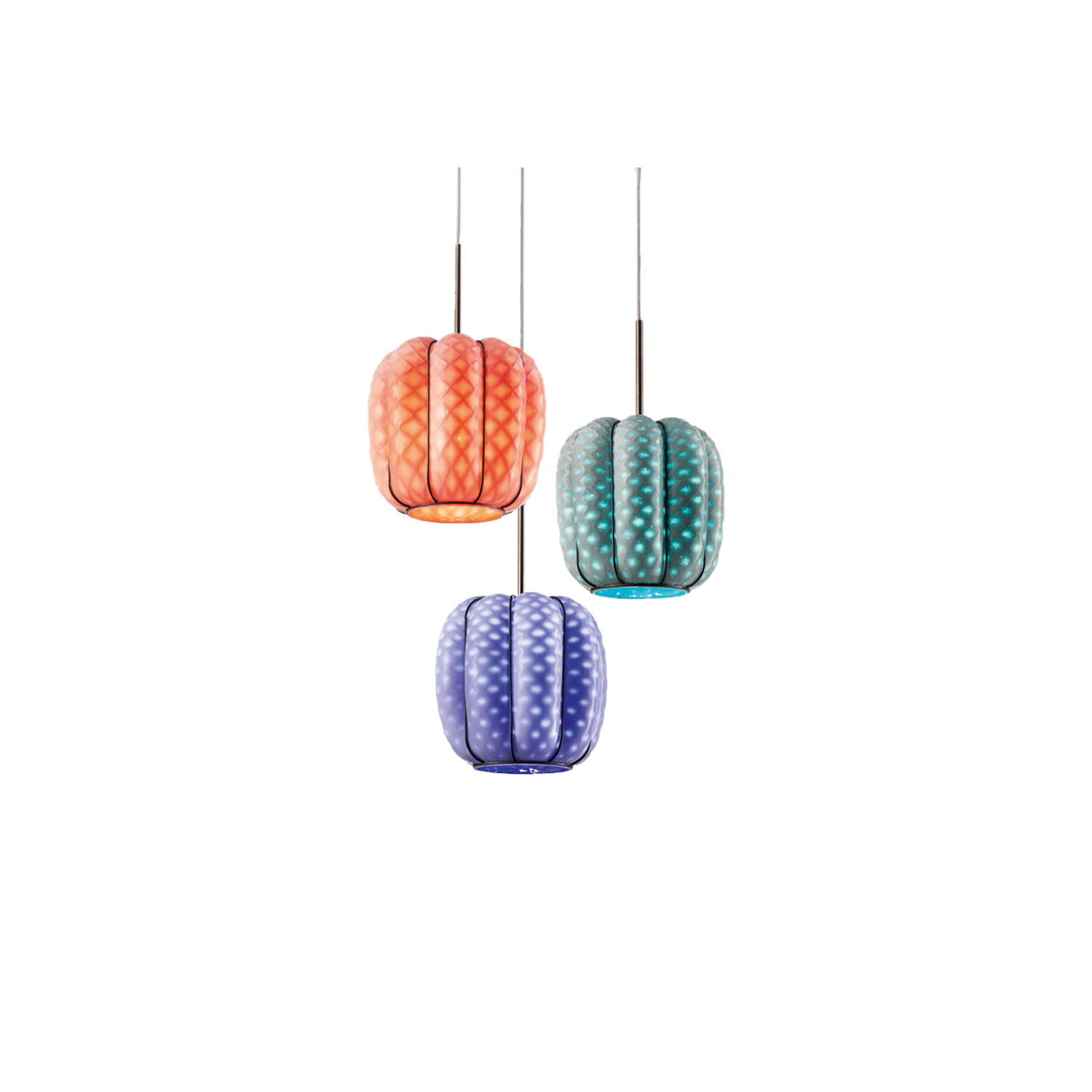 Nest Pendant Light Group - The Nest Pendant Light group features three Nest lights that are arranged in a grouped suspension. These bright and delightful lights add a pop of colour wherever they are placed and are a contemporary take on a classic style.  These are hand made blown glass suspension with the techniques of the old Murano glass masters. They can either be purchased in a straight line all at the same height or clustered at varying heights. 
