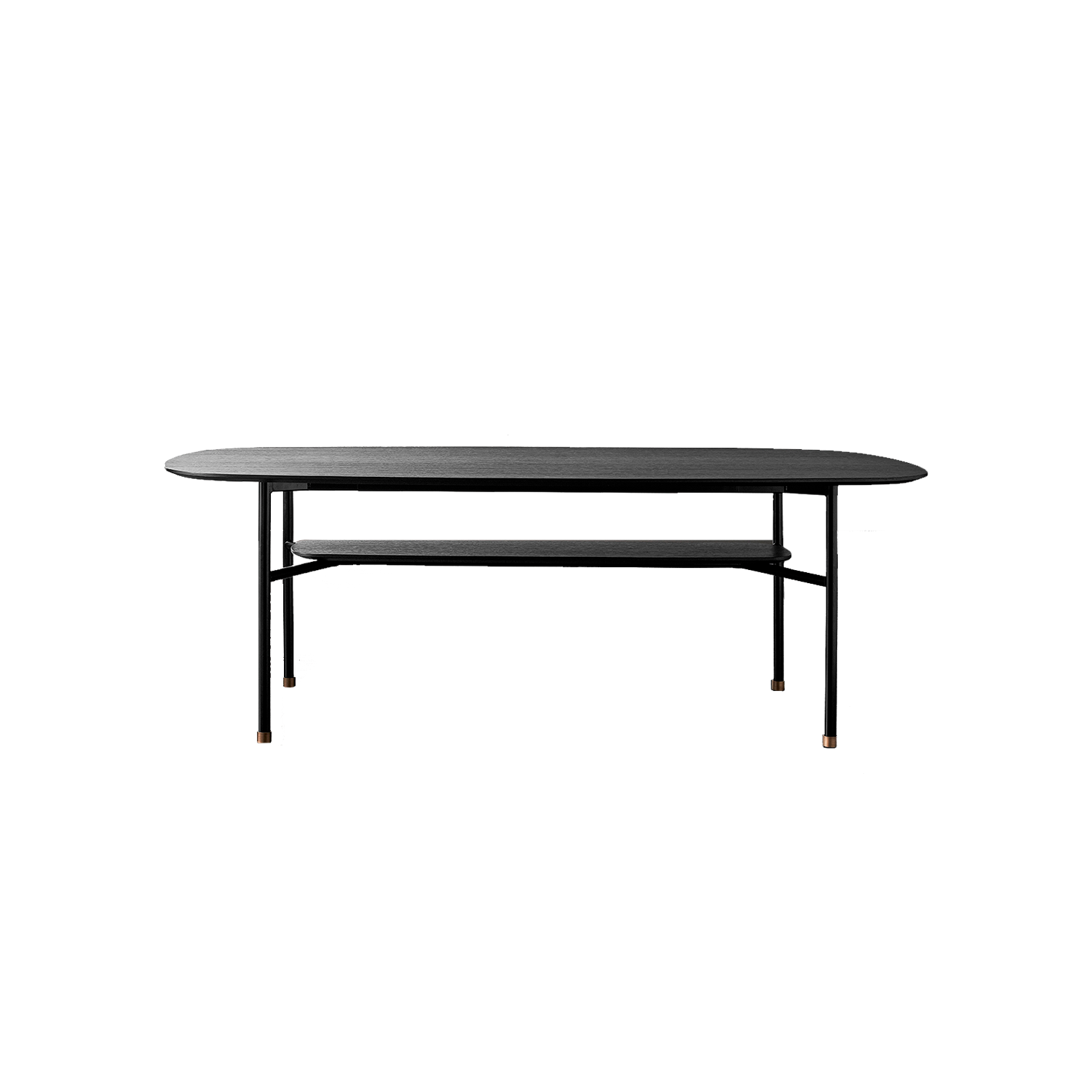 Hubert Dining Table - Hubert was born from the desire to create a simple table, defined by a very linear tubular iron frame that supports different types of top, with various shapes and sizes. Hubert presents a wide range of different composition options; in its graphic neatness it offers the gracious possibility of a double top or a small brass tip in the frame.  The table is available in different colours and configurations. Please enquire for more details | Matter of Stuff