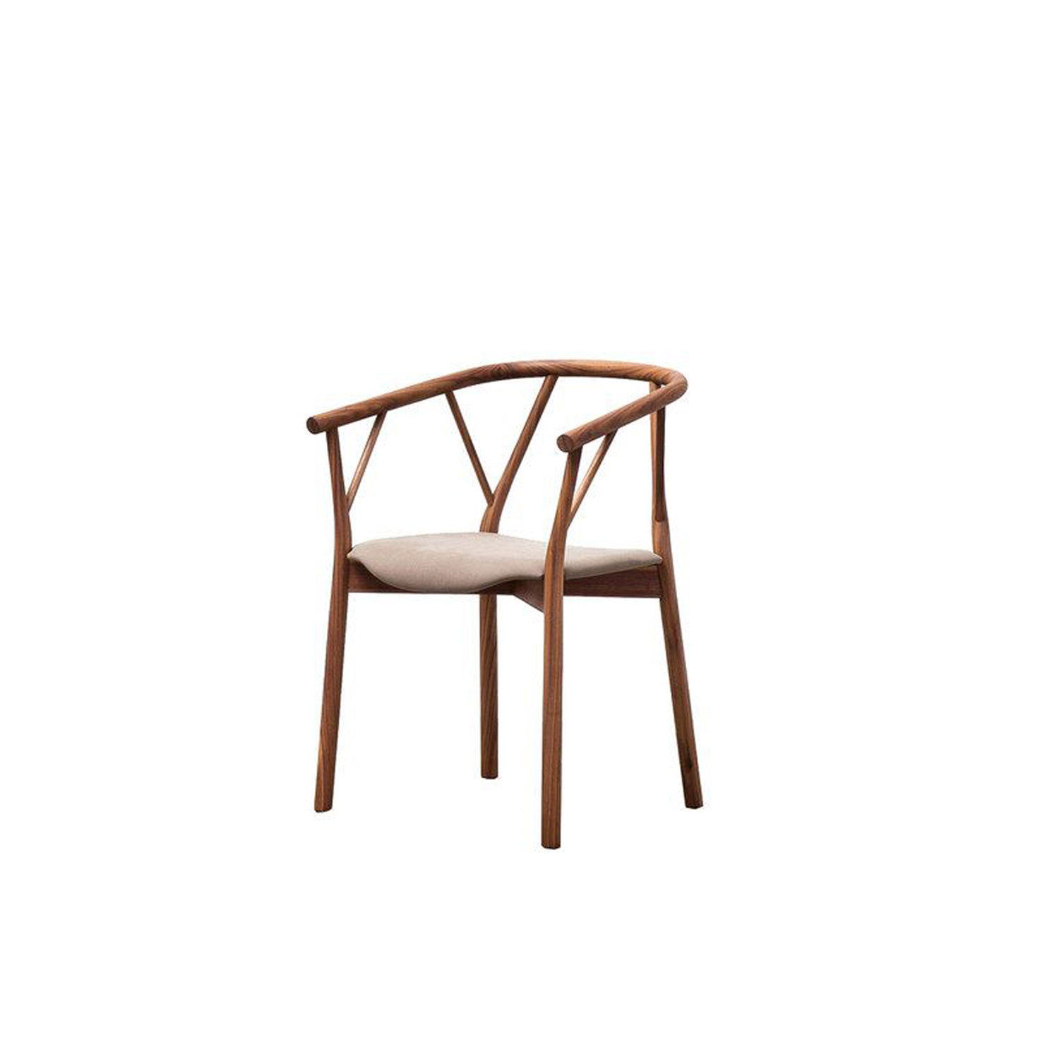 Valerie Armchair - The armchair is made in bended wood. It represents the essence of the sitting archetype, due to the used materials and to the form. Doesn't want to impress, just to perform in the better way the primary function: to accommodate. The armchair develops the contrast between the essential structure and the wooden seat: the first devoted to the support and the second, to the comfort. The armchair has a solid wood structure, available in the listed wooden finishes, stained aniline or lacquered. Structure available with or without seat-cushion, upholstered in the listed fabrics.