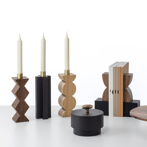 Constantin Croos Candle Holder - The Greek cross is the essential shape inspiring this exquisite candle holder, which is fashioned of black-stained, brushed, solid oak. Part of the collection paying homage to Constantin Brancusi's sculptures, this piece showcases a subtle grain, particularly appealing to the touch, and a streamlined, elegant silhouette. The piece is delivered in a refined gray gift box displaying Colè's silver logo. | Matter of Stuff